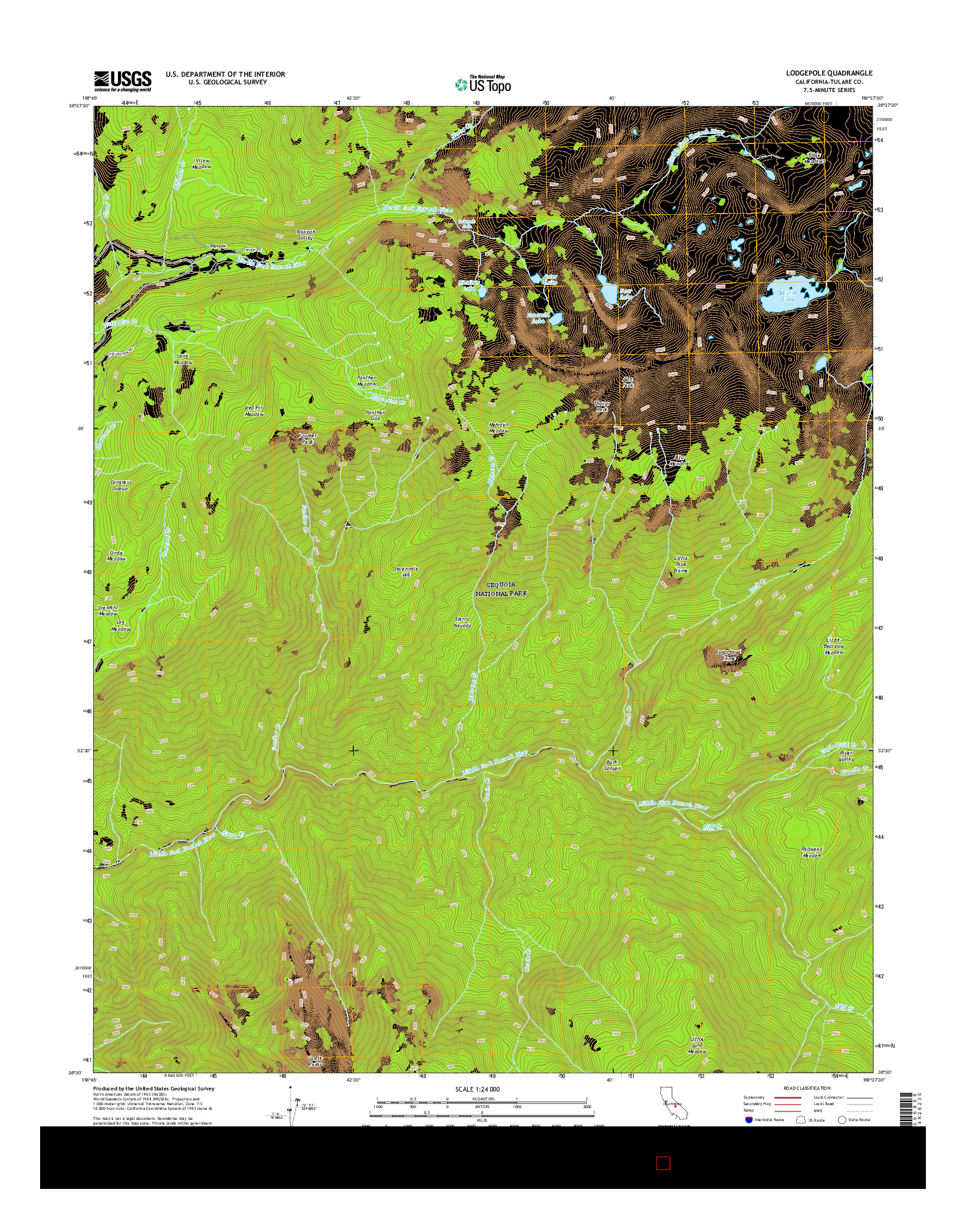 USGS US TOPO 7.5-MINUTE MAP FOR LODGEPOLE, CA 2015