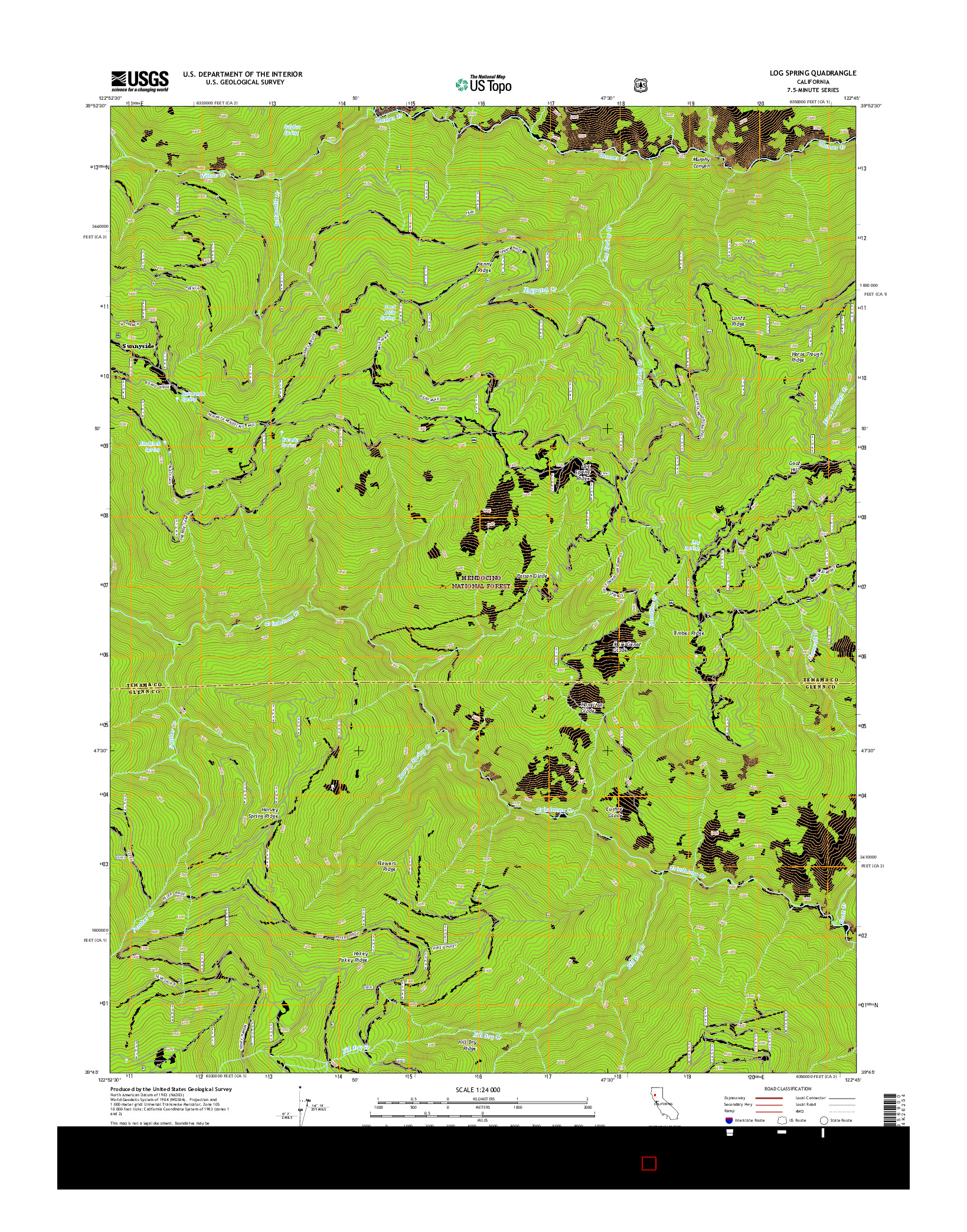 USGS US TOPO 7.5-MINUTE MAP FOR LOG SPRING, CA 2015
