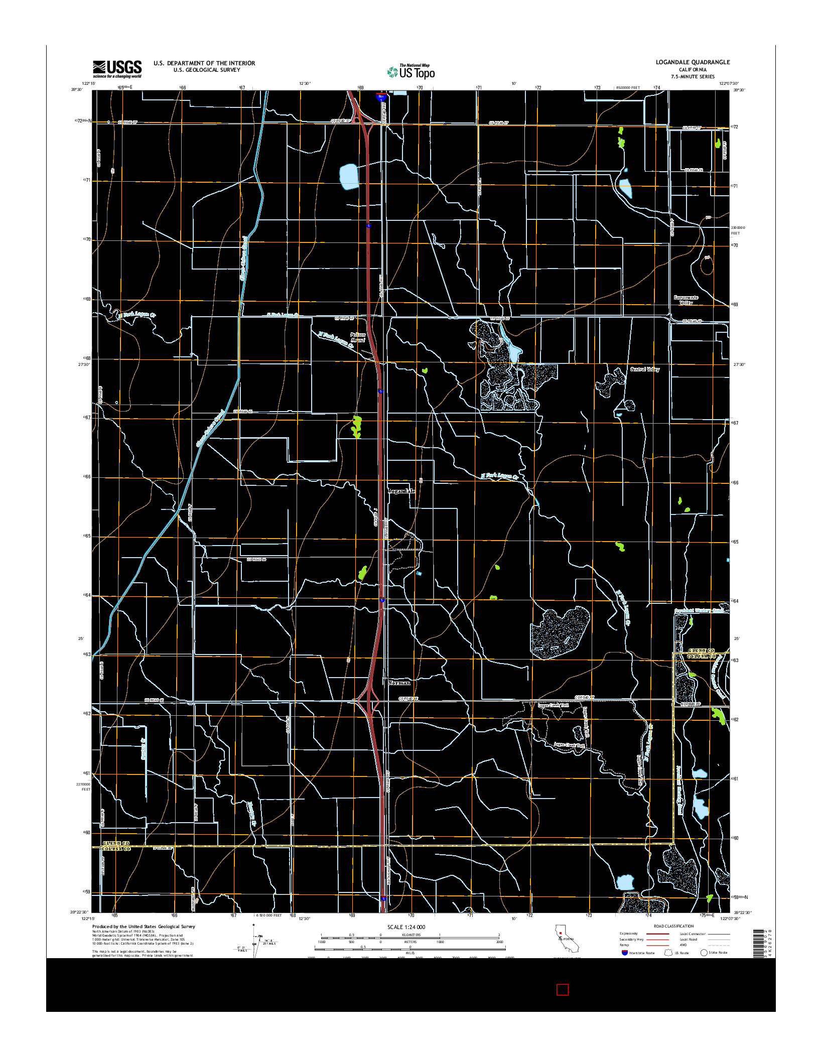 USGS US TOPO 7.5-MINUTE MAP FOR LOGANDALE, CA 2015