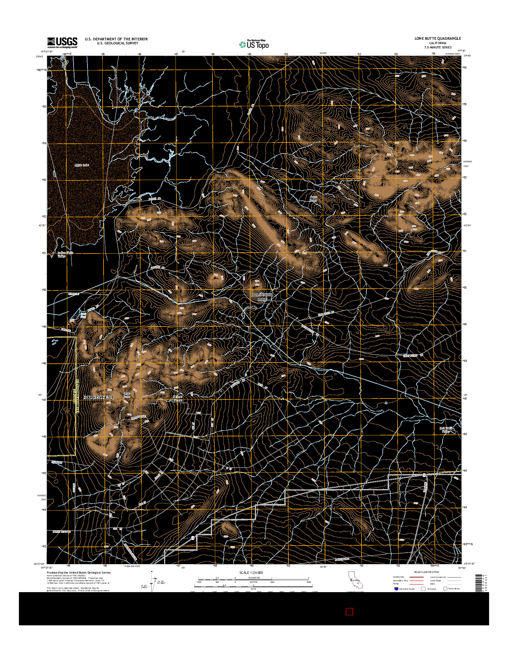 USGS US TOPO 7.5-MINUTE MAP FOR LONE BUTTE, CA 2015