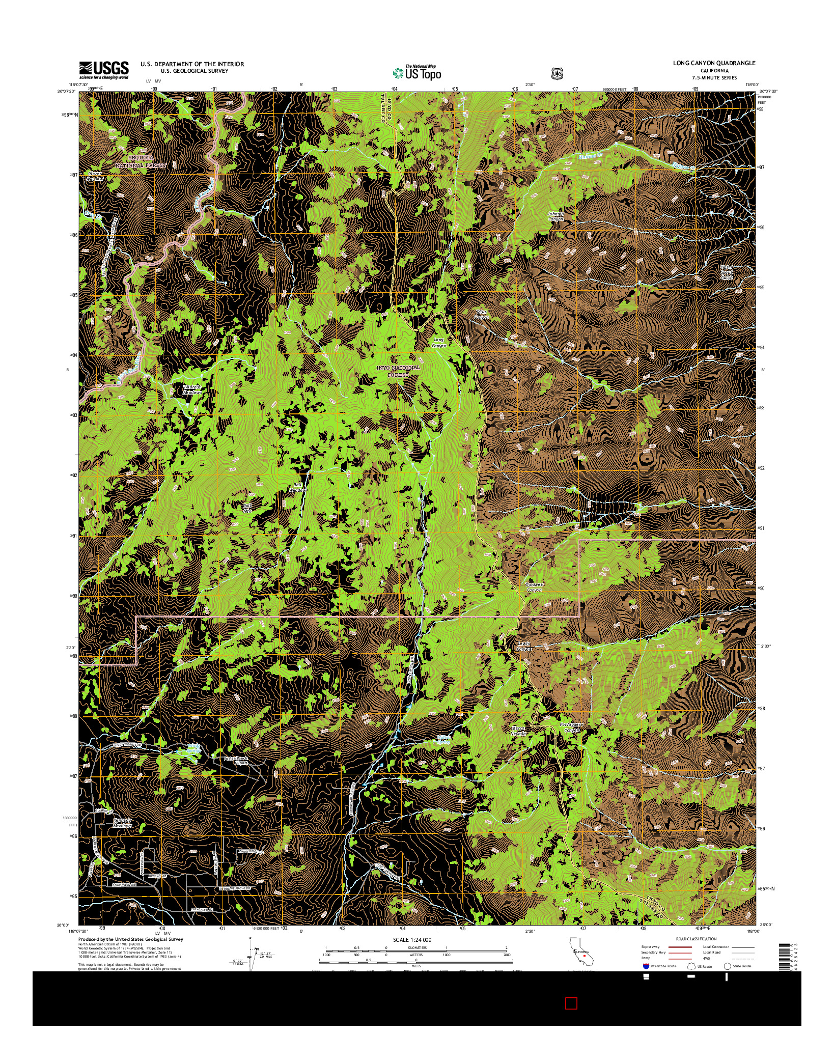USGS US TOPO 7.5-MINUTE MAP FOR LONG CANYON, CA 2015