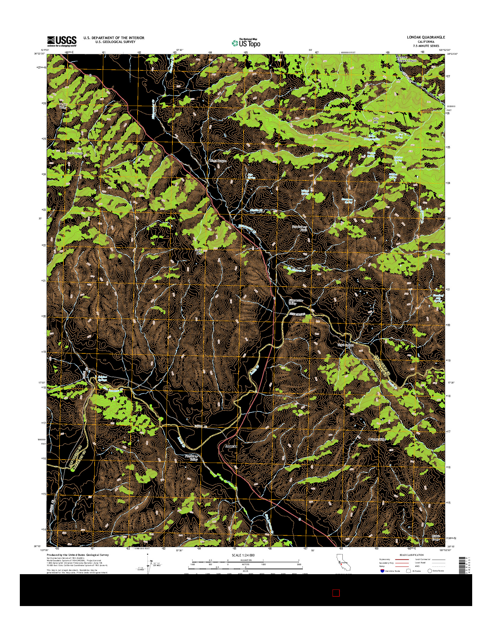 USGS US TOPO 7.5-MINUTE MAP FOR LONOAK, CA 2015