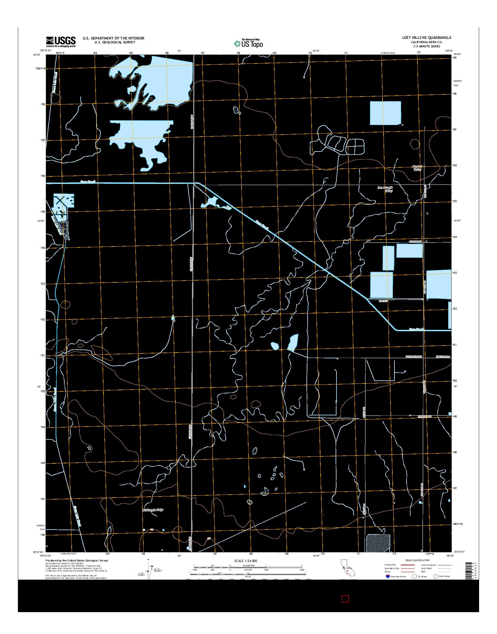 USGS US TOPO 7.5-MINUTE MAP FOR LOST HILLS NE, CA 2015