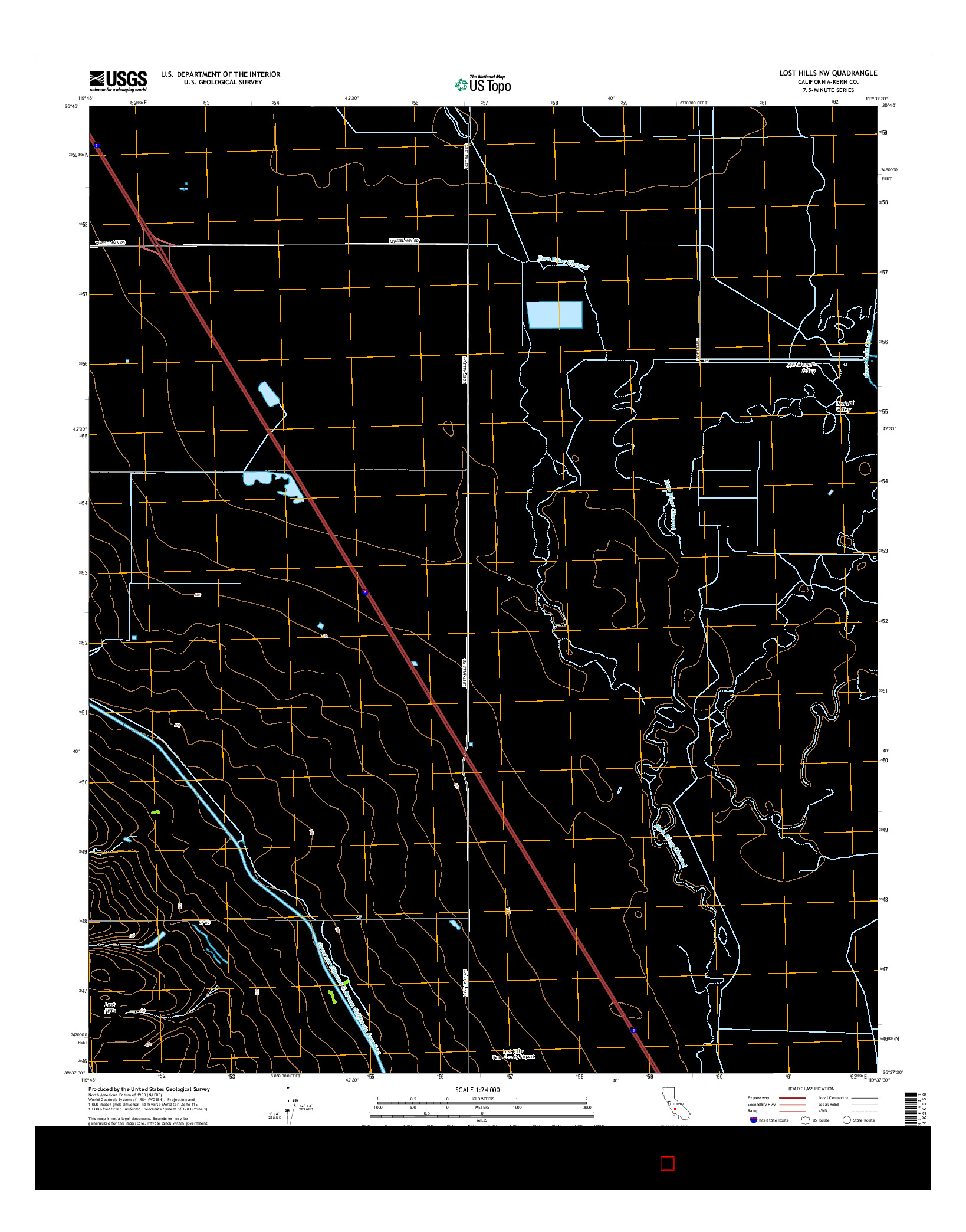 USGS US TOPO 7.5-MINUTE MAP FOR LOST HILLS NW, CA 2015