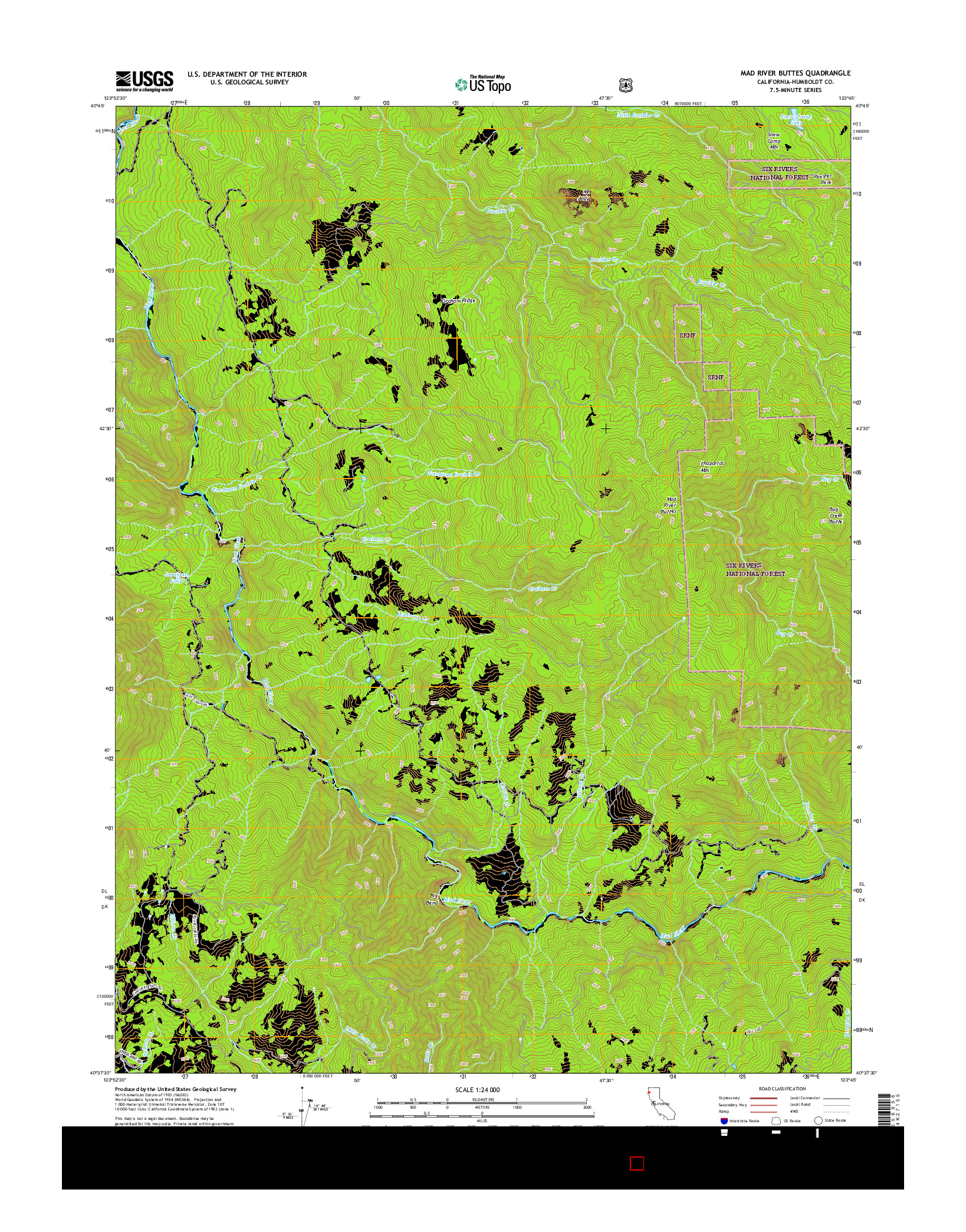 USGS US TOPO 7.5-MINUTE MAP FOR MAD RIVER BUTTES, CA 2015
