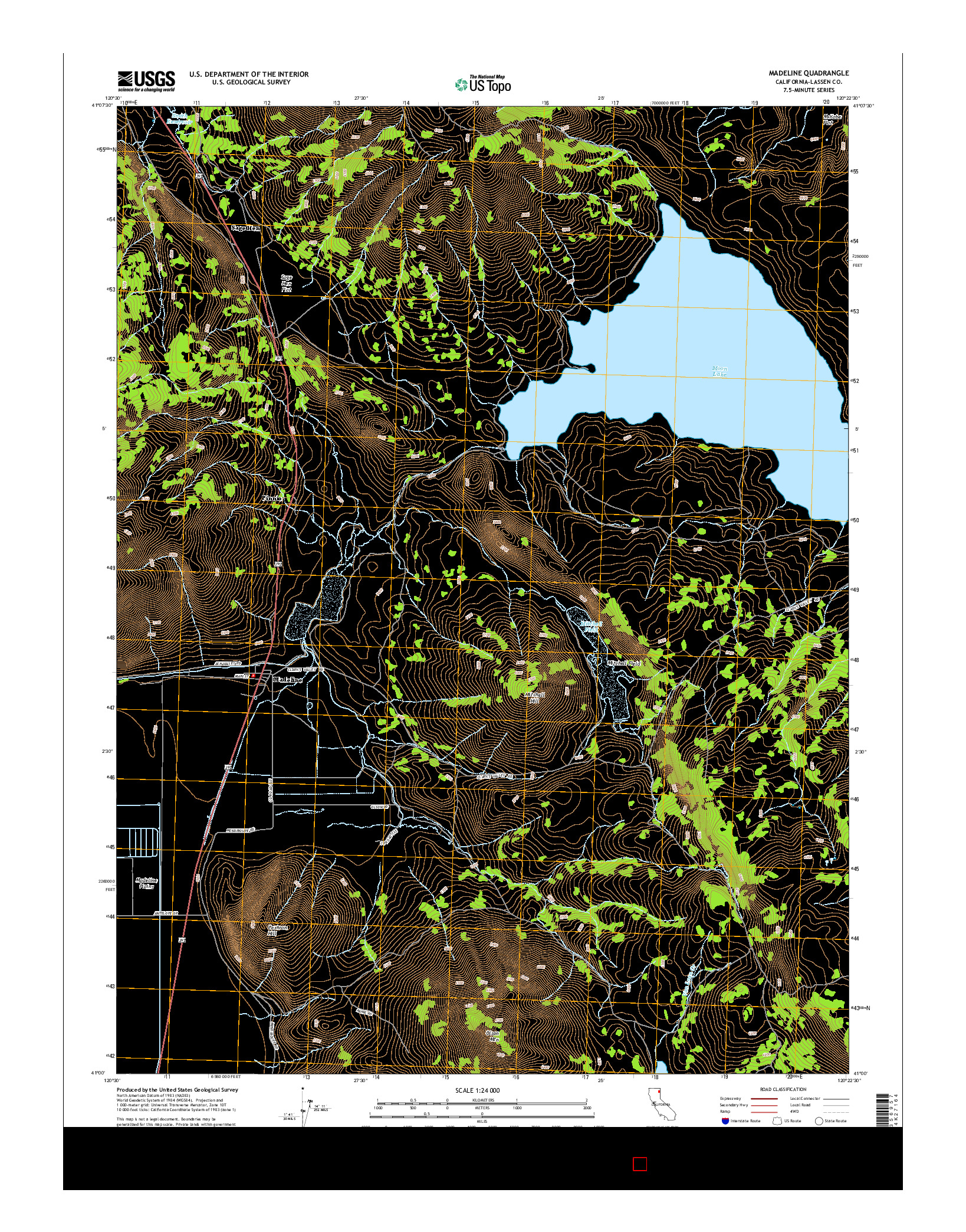 USGS US TOPO 7.5-MINUTE MAP FOR MADELINE, CA 2015