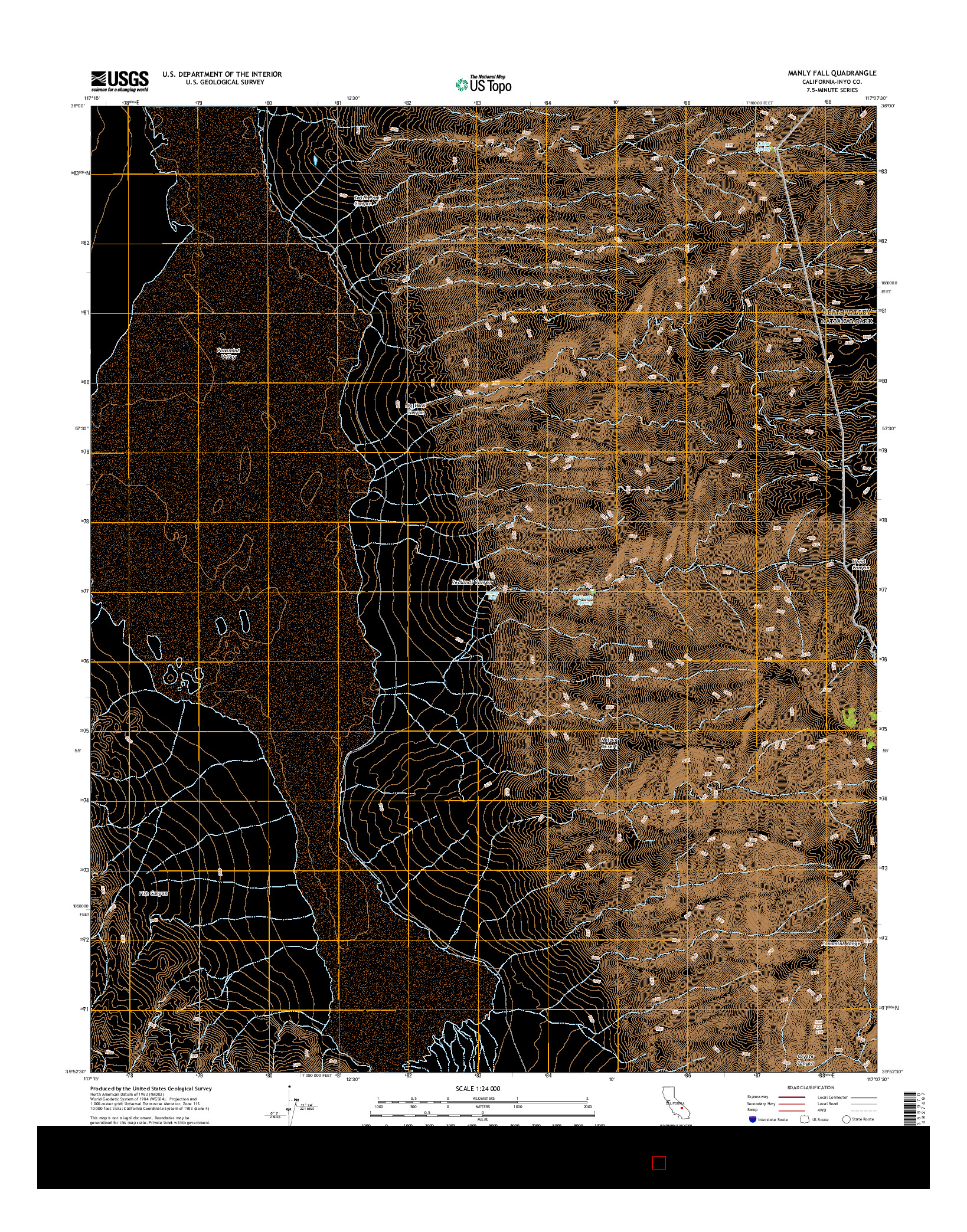 USGS US TOPO 7.5-MINUTE MAP FOR MANLY FALL, CA 2015