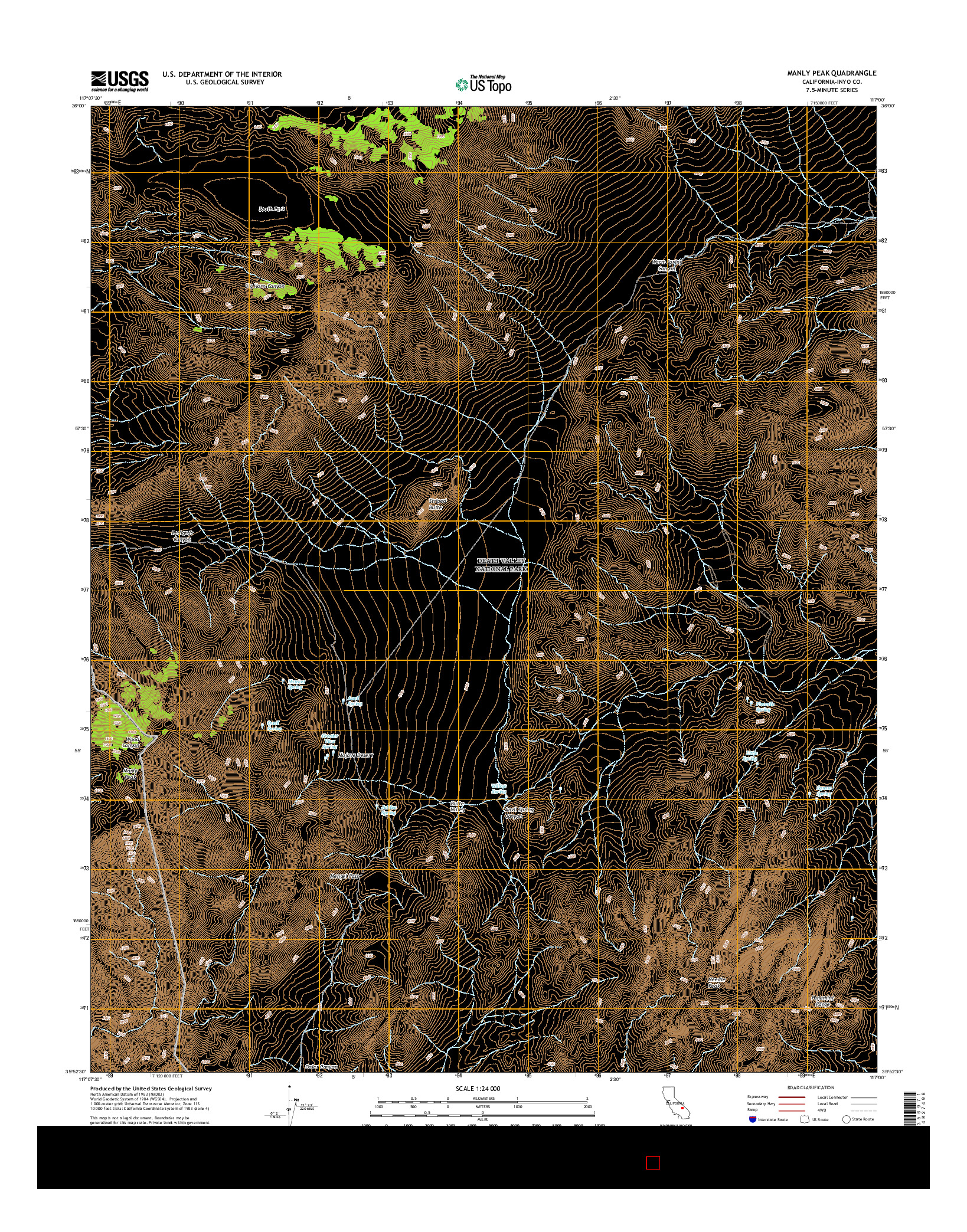 USGS US TOPO 7.5-MINUTE MAP FOR MANLY PEAK, CA 2015