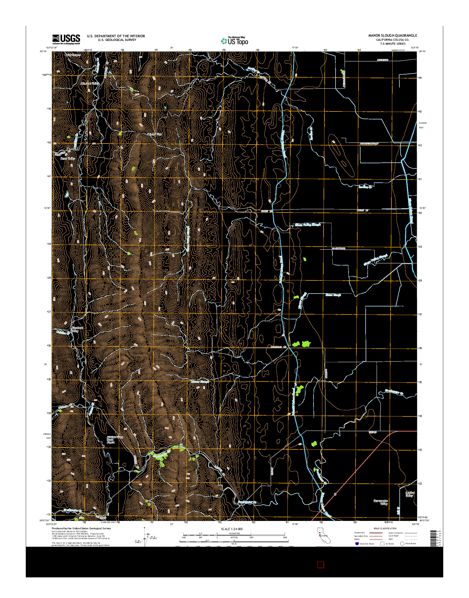 USGS US TOPO 7.5-MINUTE MAP FOR MANOR SLOUGH, CA 2015