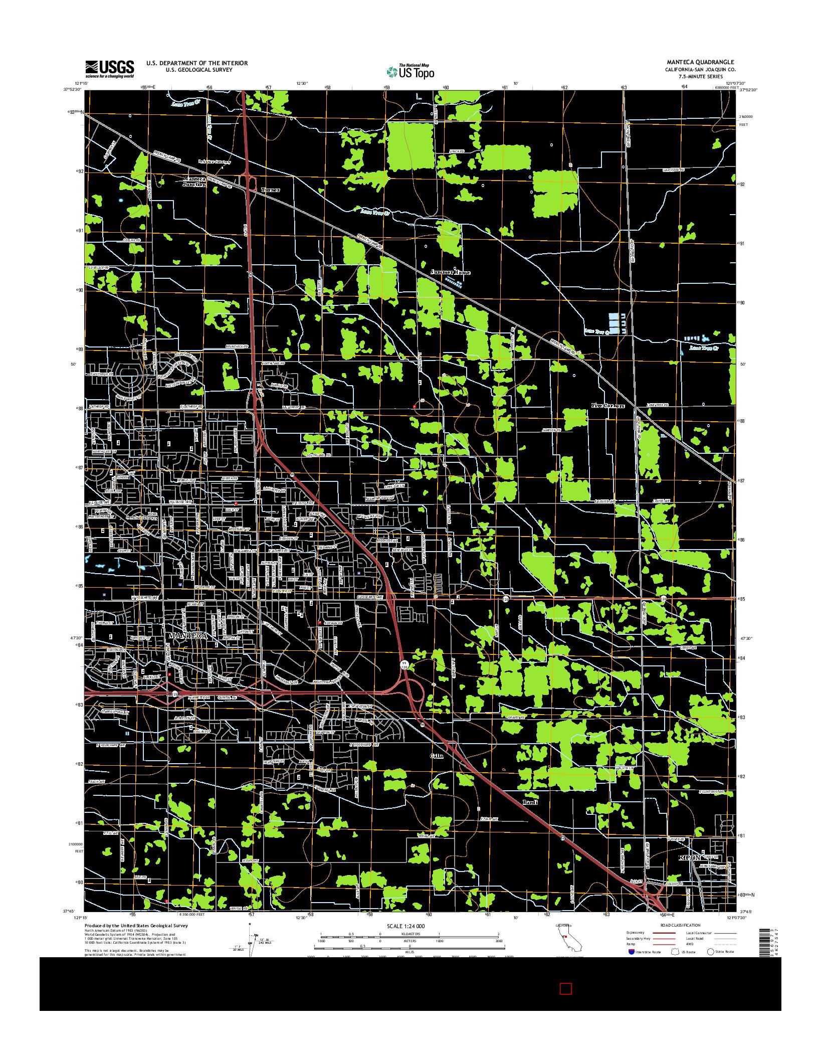 USGS US TOPO 7.5-MINUTE MAP FOR MANTECA, CA 2015