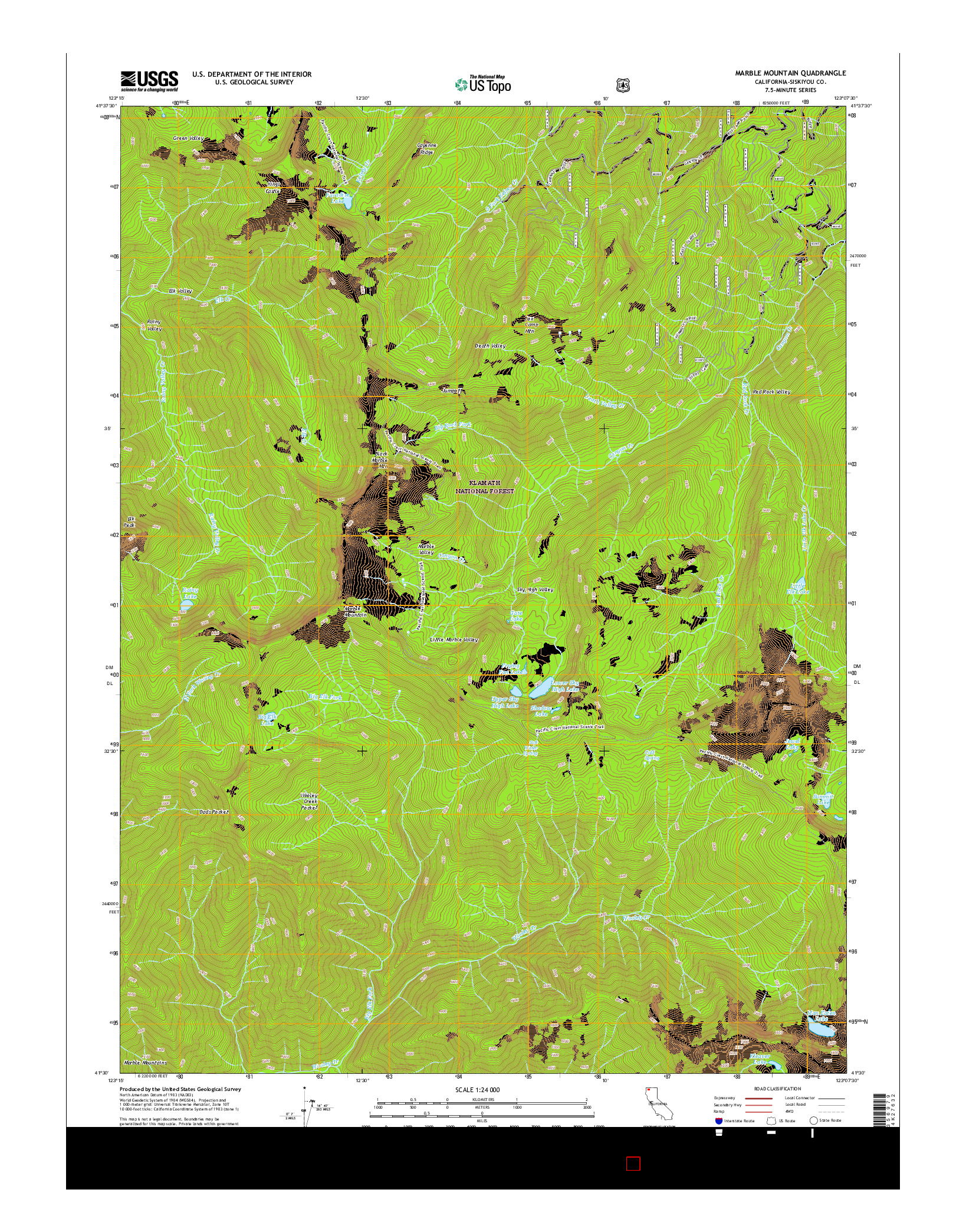 USGS US TOPO 7.5-MINUTE MAP FOR MARBLE MOUNTAIN, CA 2015