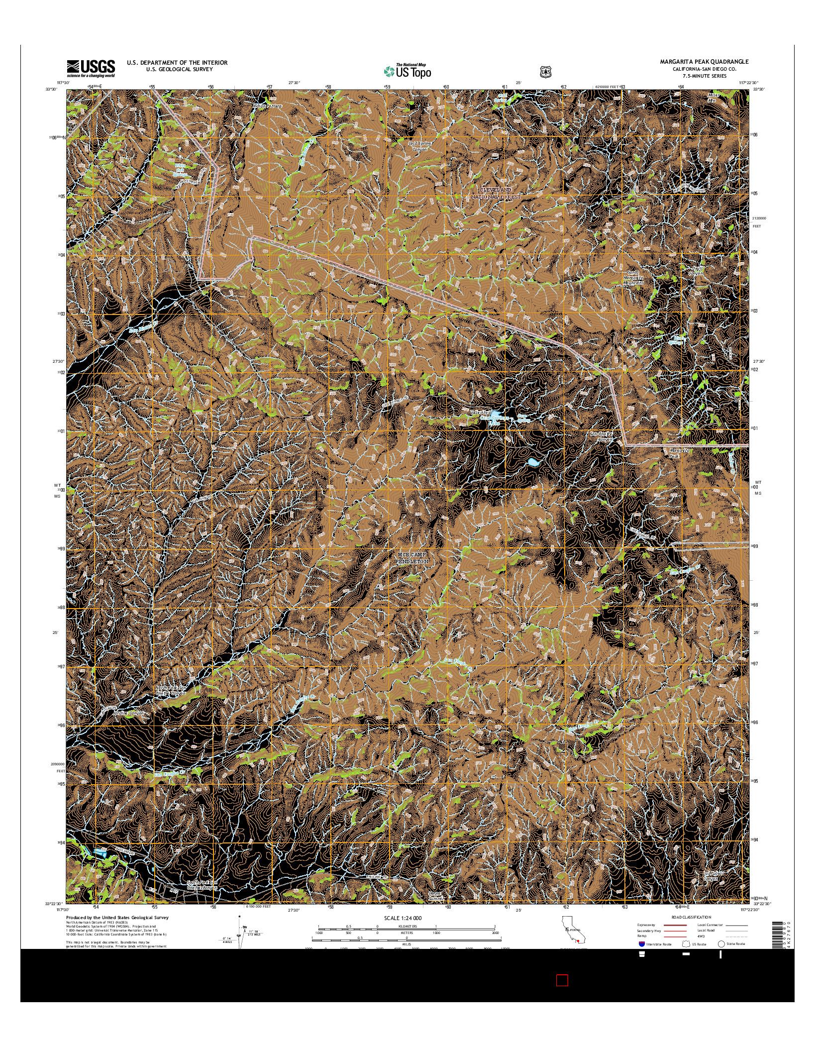 USGS US TOPO 7.5-MINUTE MAP FOR MARGARITA PEAK, CA 2015