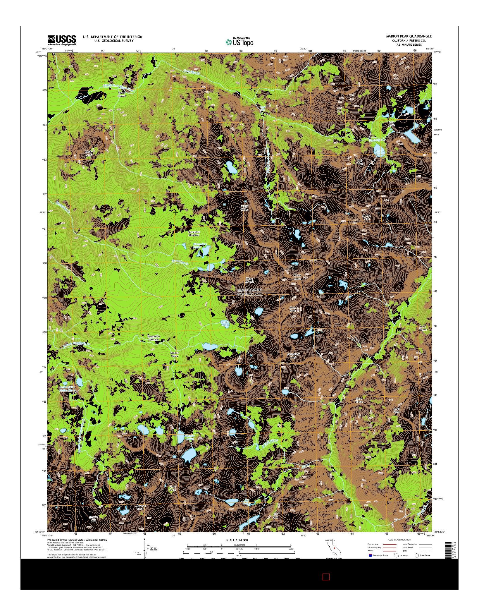 USGS US TOPO 7.5-MINUTE MAP FOR MARION PEAK, CA 2015