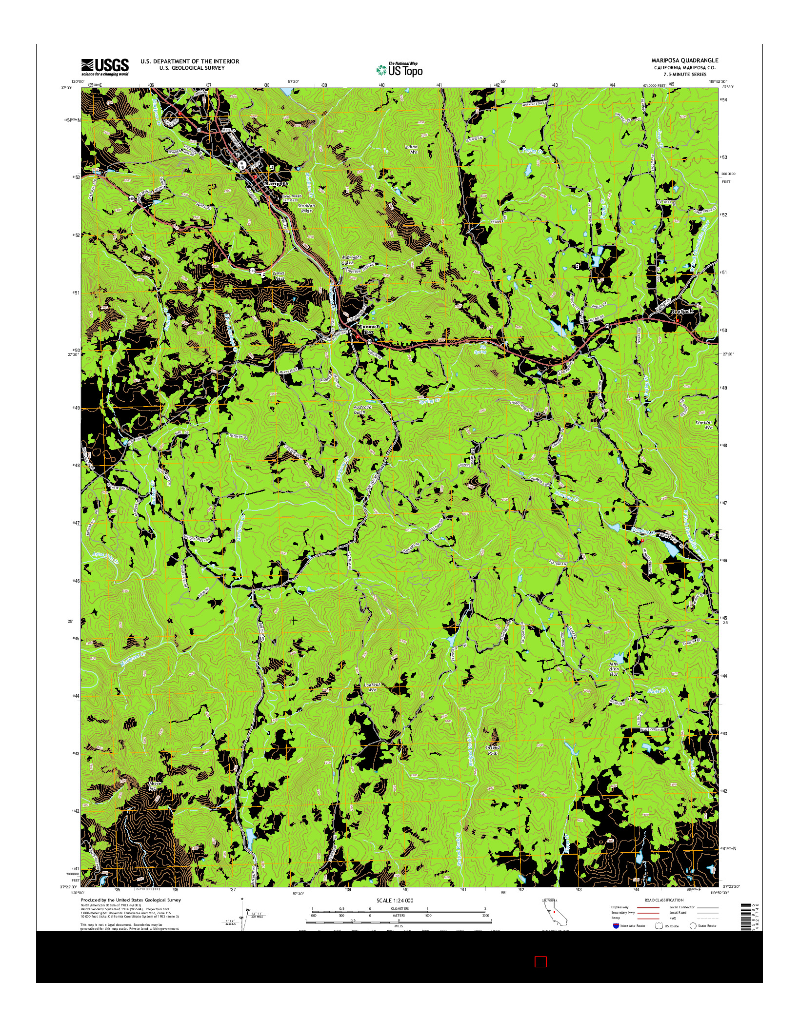 USGS US TOPO 7.5-MINUTE MAP FOR MARIPOSA, CA 2015