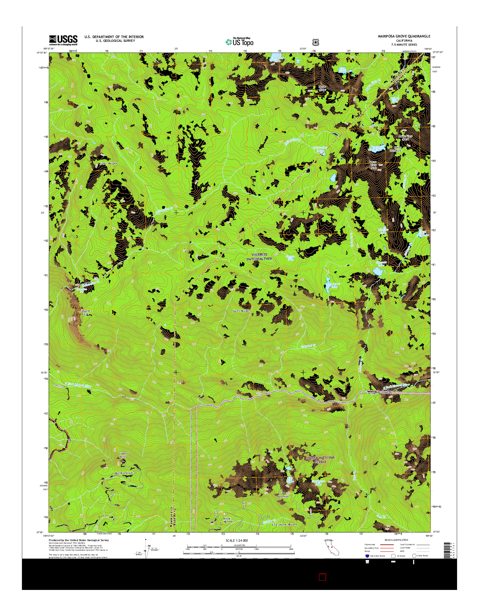 USGS US TOPO 7.5-MINUTE MAP FOR MARIPOSA GROVE, CA 2015