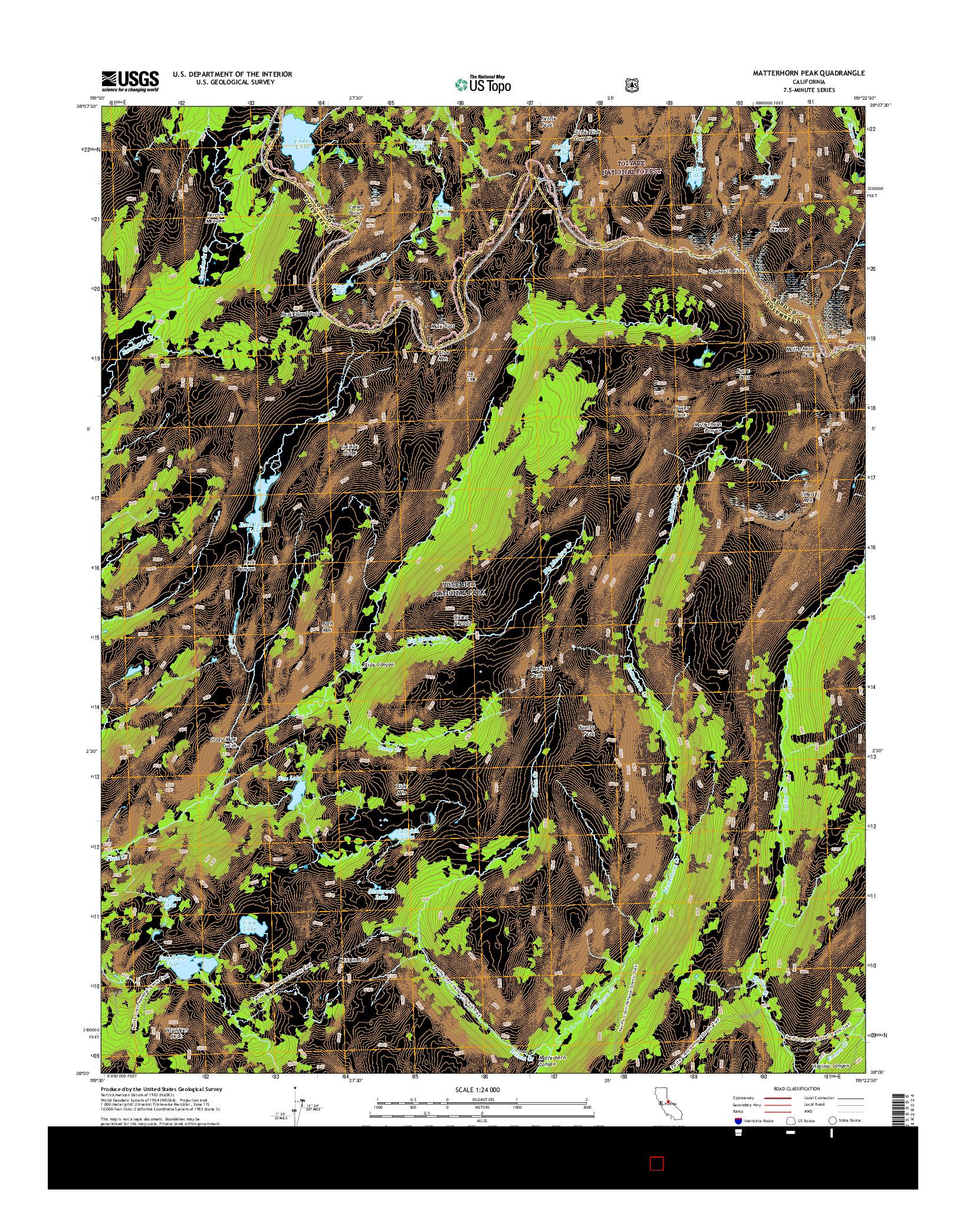 USGS US TOPO 7.5-MINUTE MAP FOR MATTERHORN PEAK, CA 2015