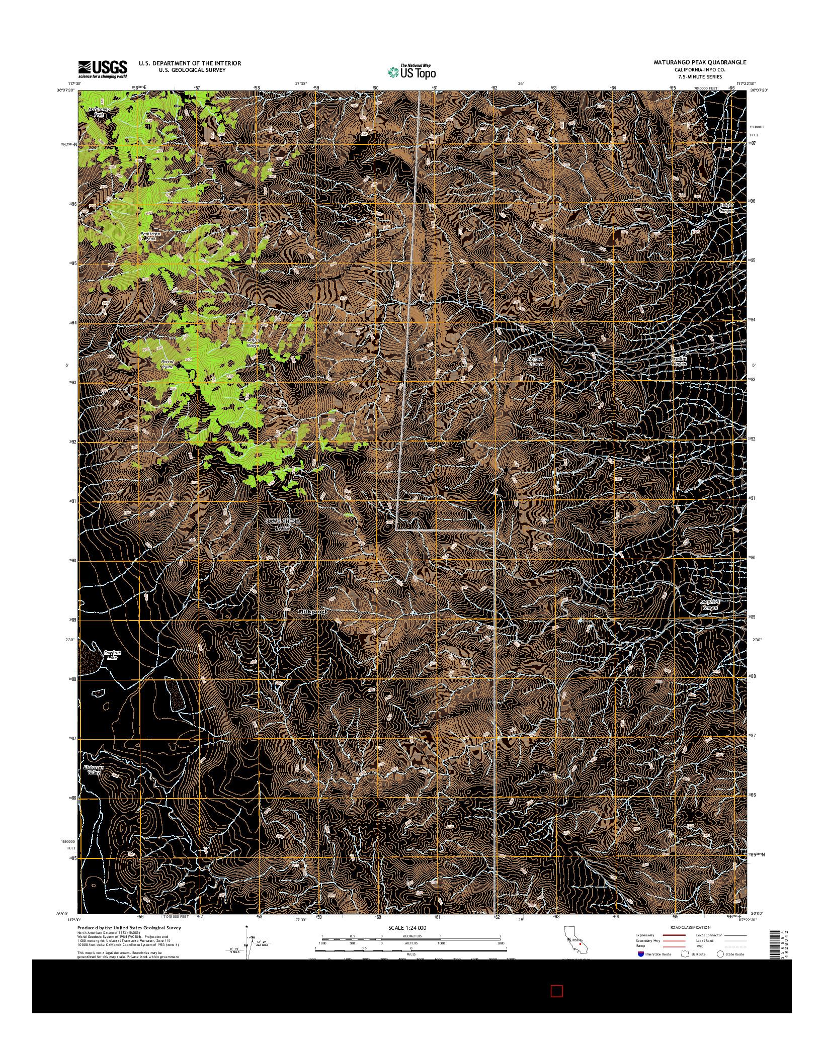 USGS US TOPO 7.5-MINUTE MAP FOR MATURANGO PEAK, CA 2015