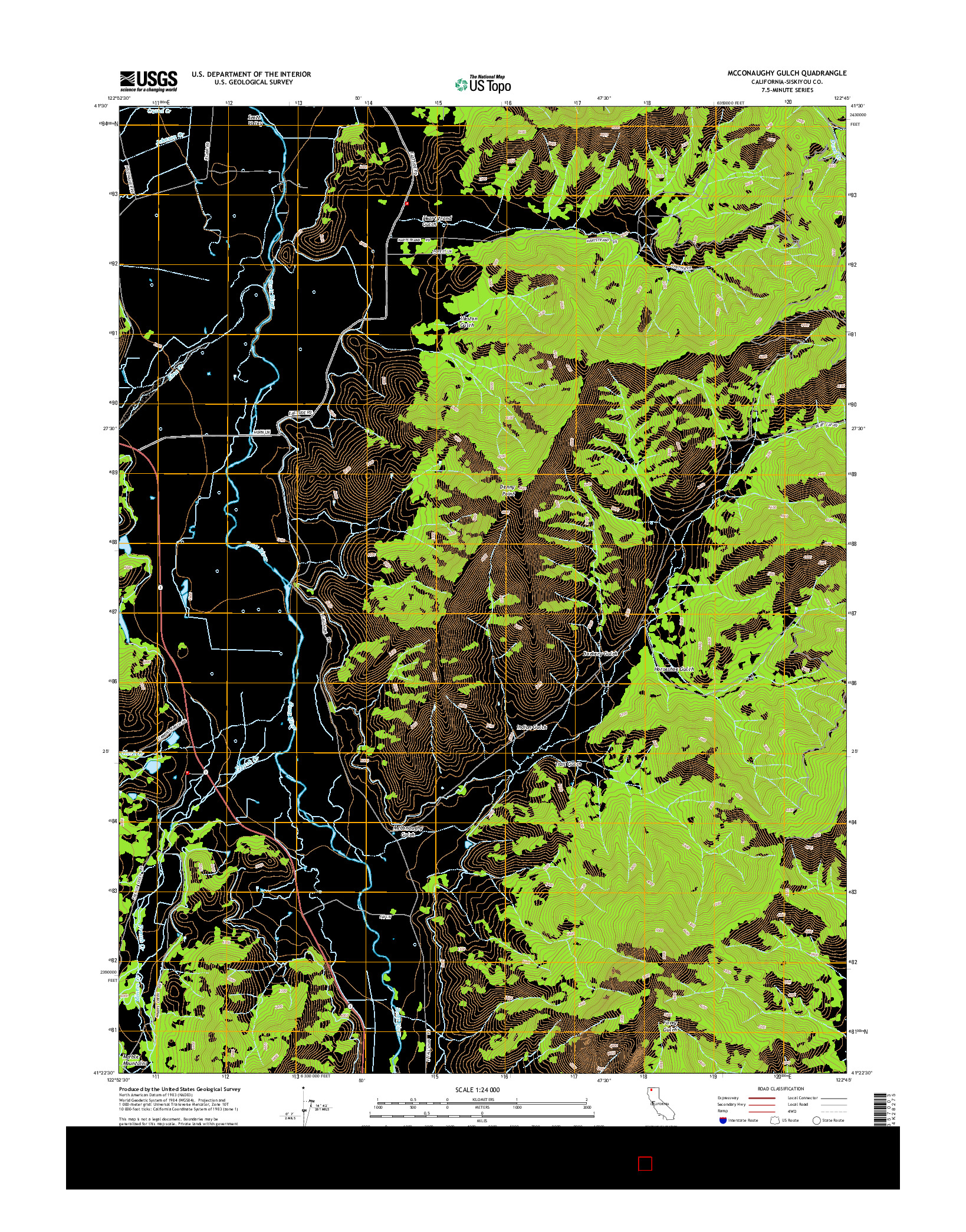 USGS US TOPO 7.5-MINUTE MAP FOR MCCONAUGHY GULCH, CA 2015