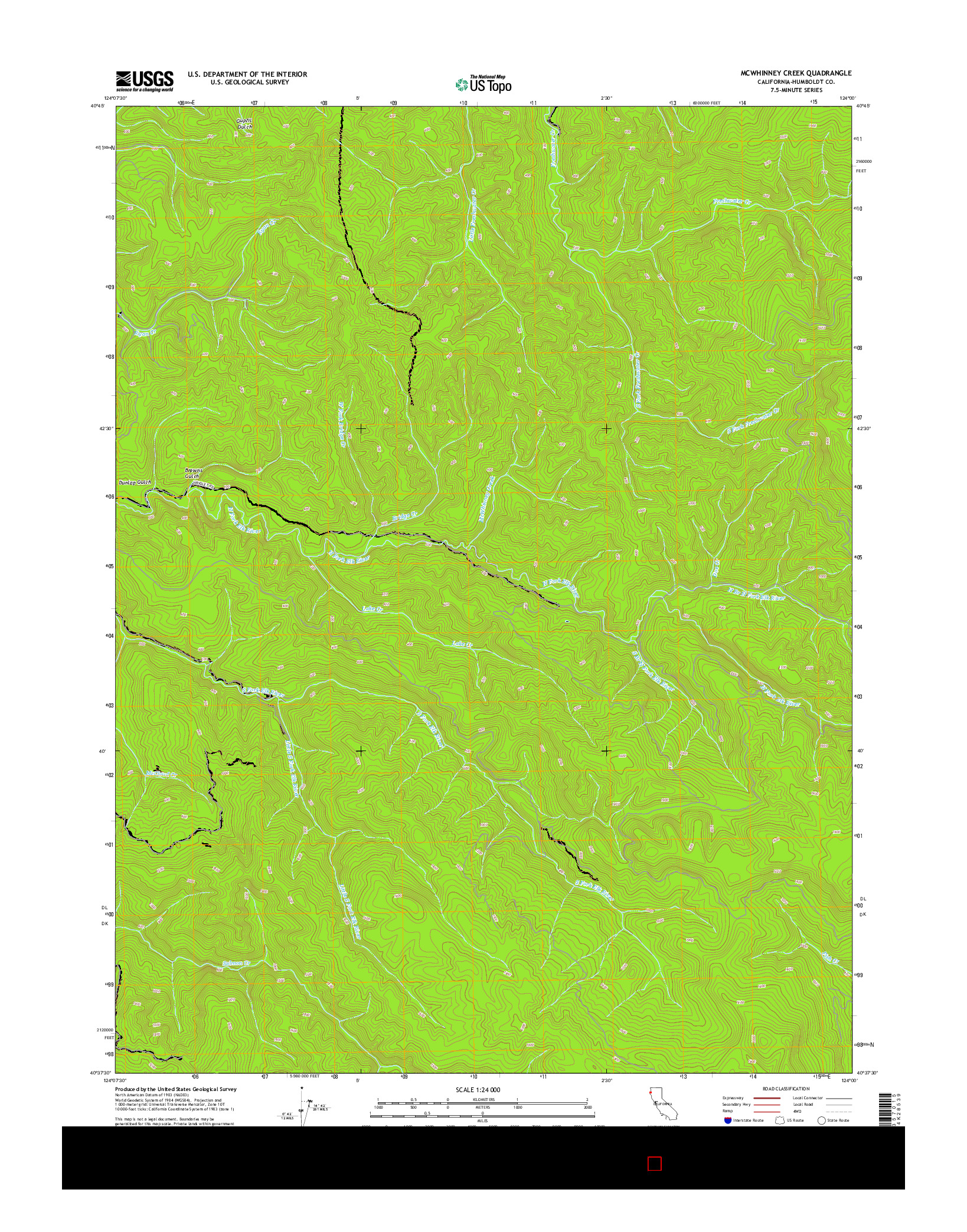 USGS US TOPO 7.5-MINUTE MAP FOR MCWHINNEY CREEK, CA 2015
