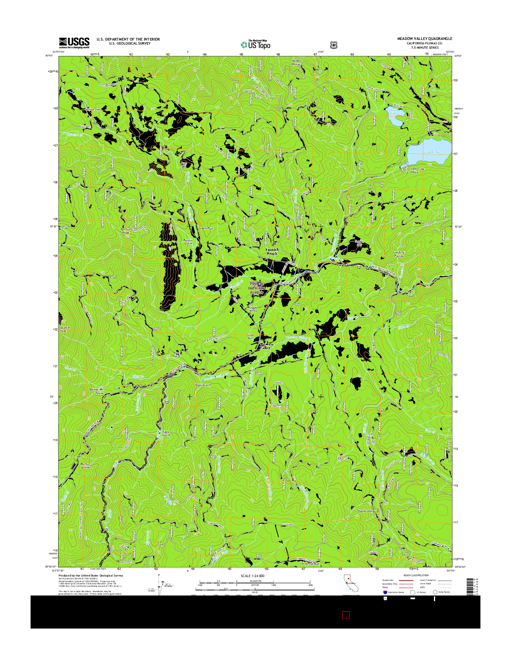 USGS US TOPO 7.5-MINUTE MAP FOR MEADOW VALLEY, CA 2015
