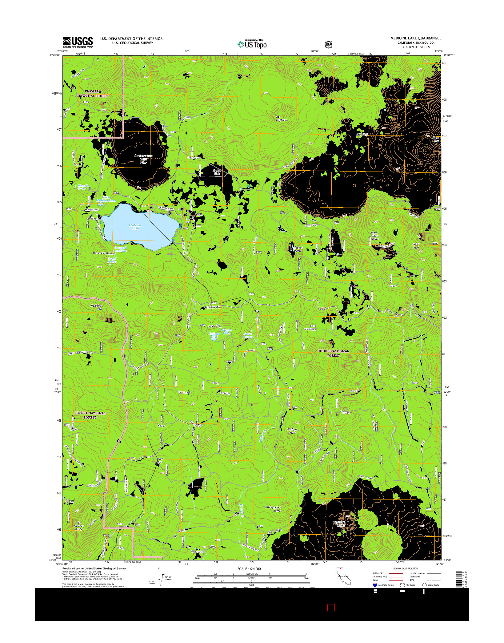 USGS US TOPO 7.5-MINUTE MAP FOR MEDICINE LAKE, CA 2015