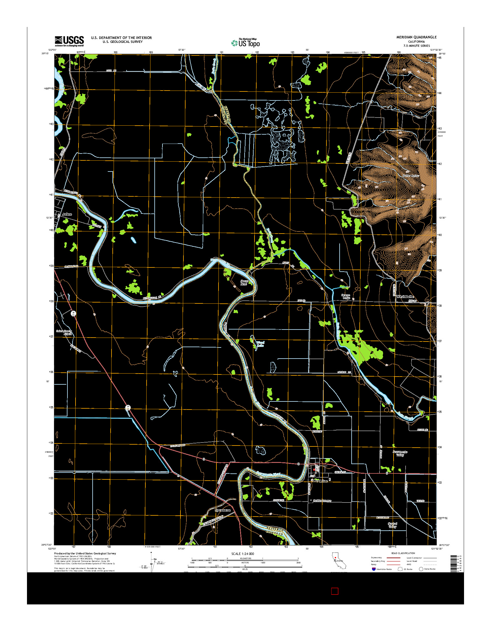 USGS US TOPO 7.5-MINUTE MAP FOR MERIDIAN, CA 2015