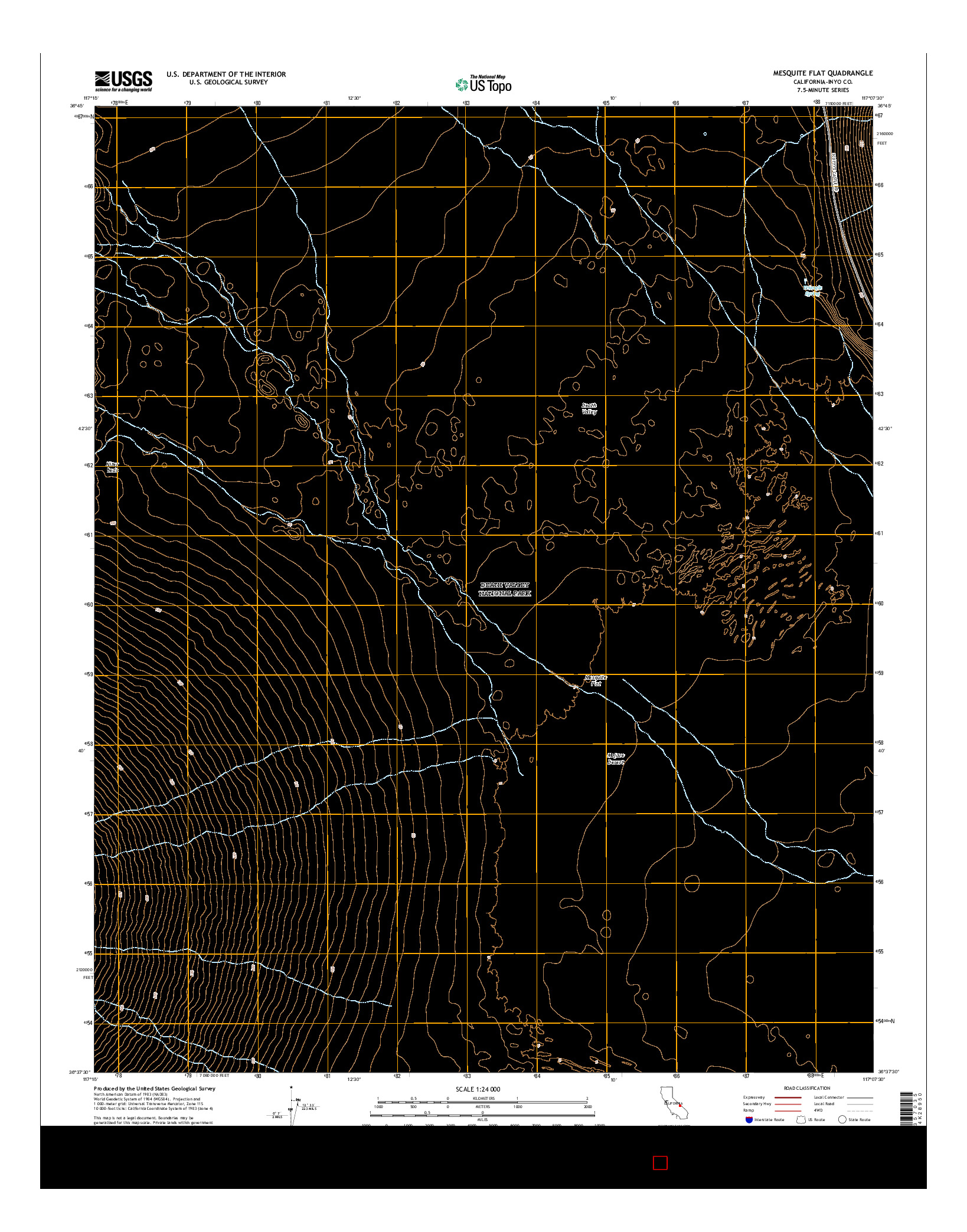 USGS US TOPO 7.5-MINUTE MAP FOR MESQUITE FLAT, CA 2015