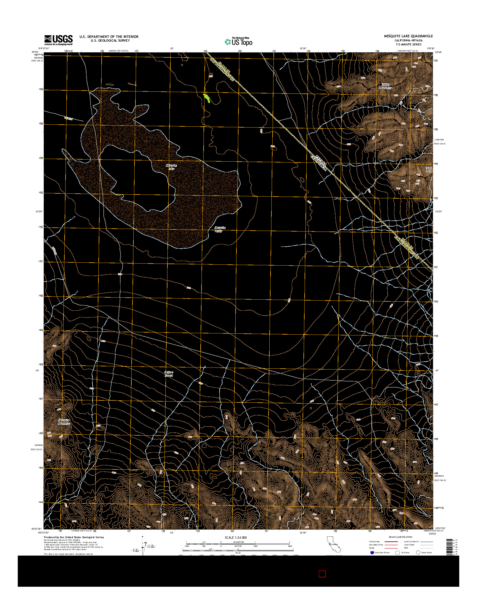 USGS US TOPO 7.5-MINUTE MAP FOR MESQUITE LAKE, CA-NV 2015