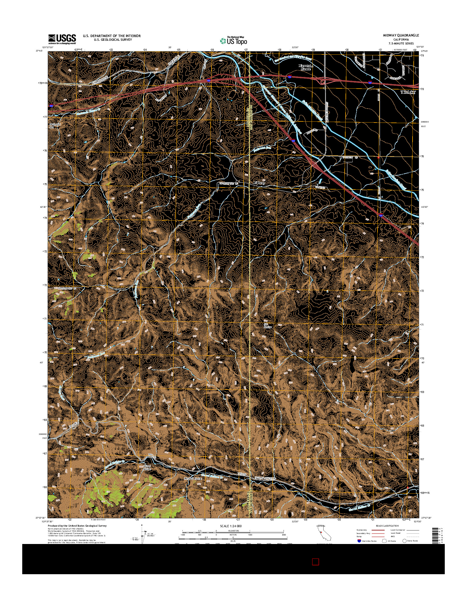 USGS US TOPO 7.5-MINUTE MAP FOR MIDWAY, CA 2015