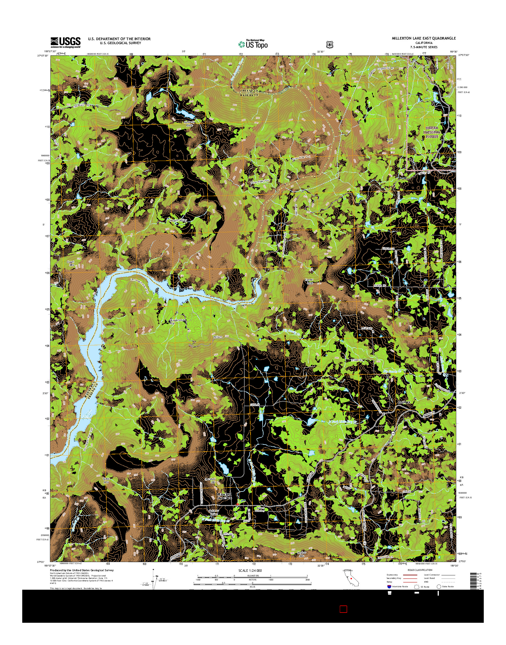 USGS US TOPO 7.5-MINUTE MAP FOR MILLERTON LAKE EAST, CA 2015
