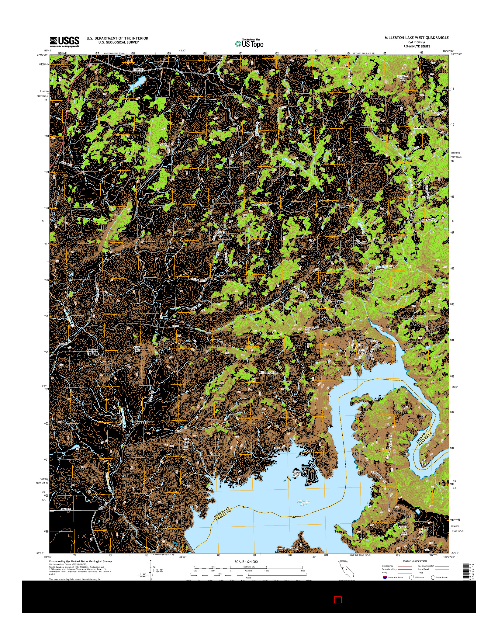USGS US TOPO 7.5-MINUTE MAP FOR MILLERTON LAKE WEST, CA 2015