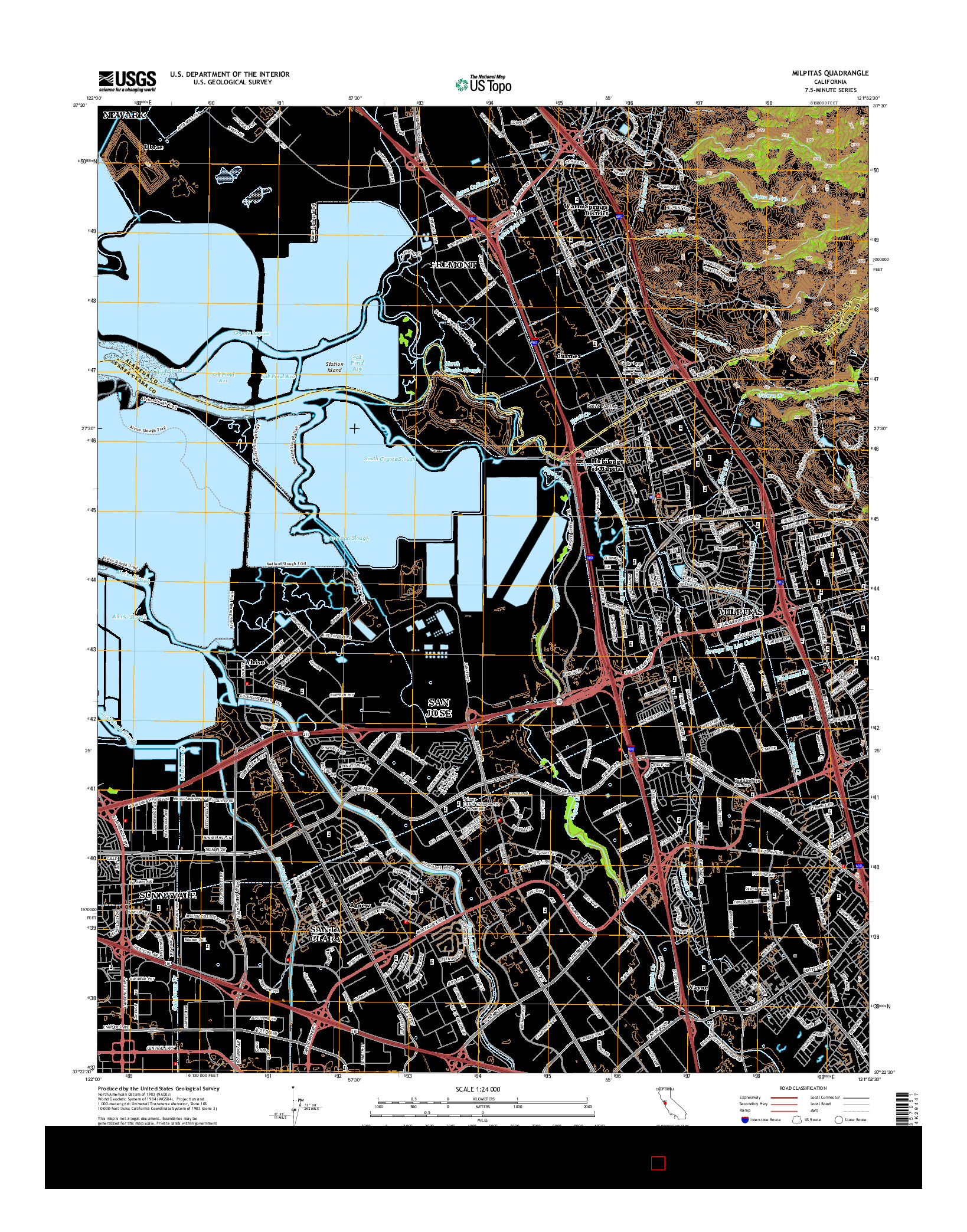USGS US TOPO 7.5-MINUTE MAP FOR MILPITAS, CA 2015