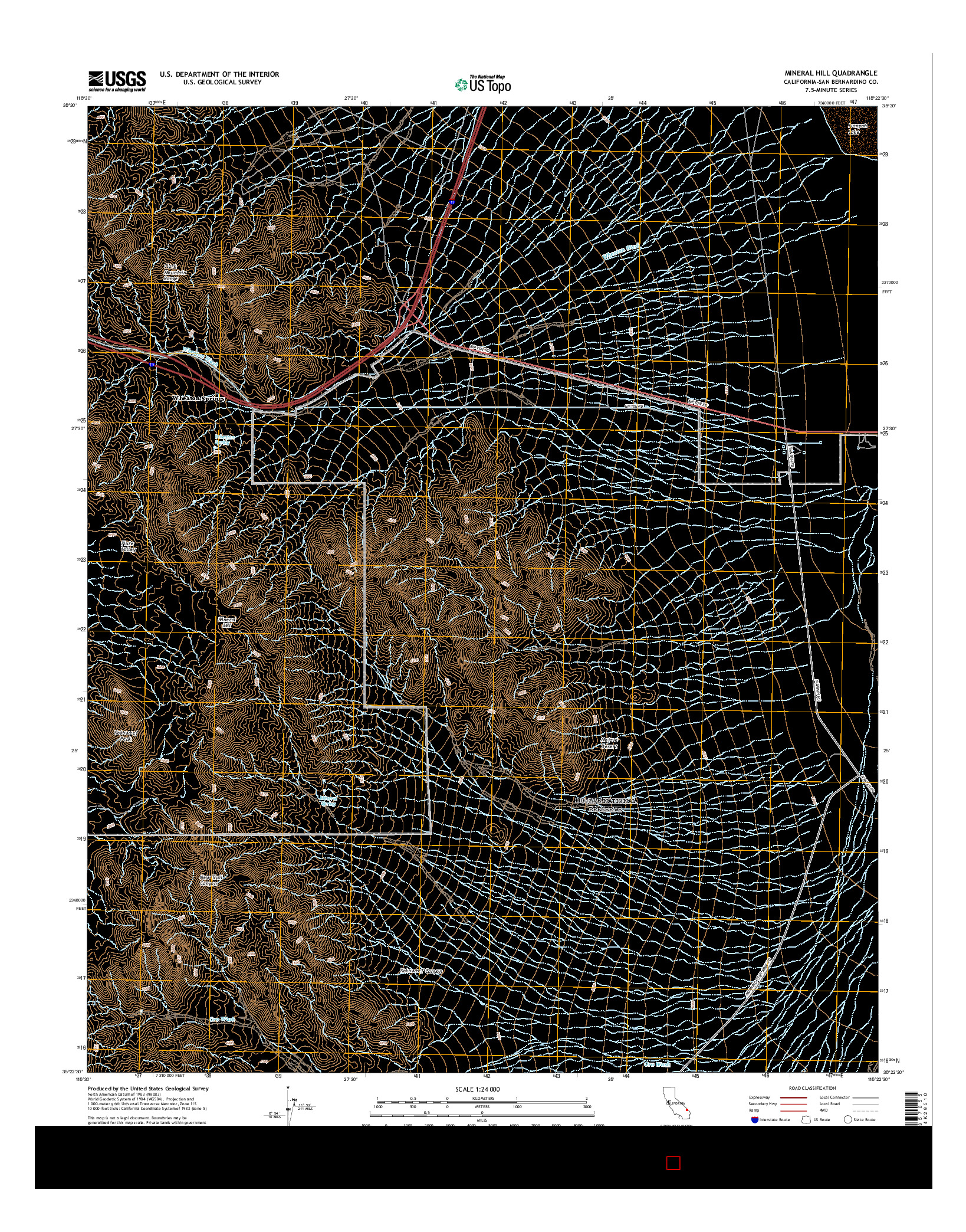 USGS US TOPO 7.5-MINUTE MAP FOR MINERAL HILL, CA 2015