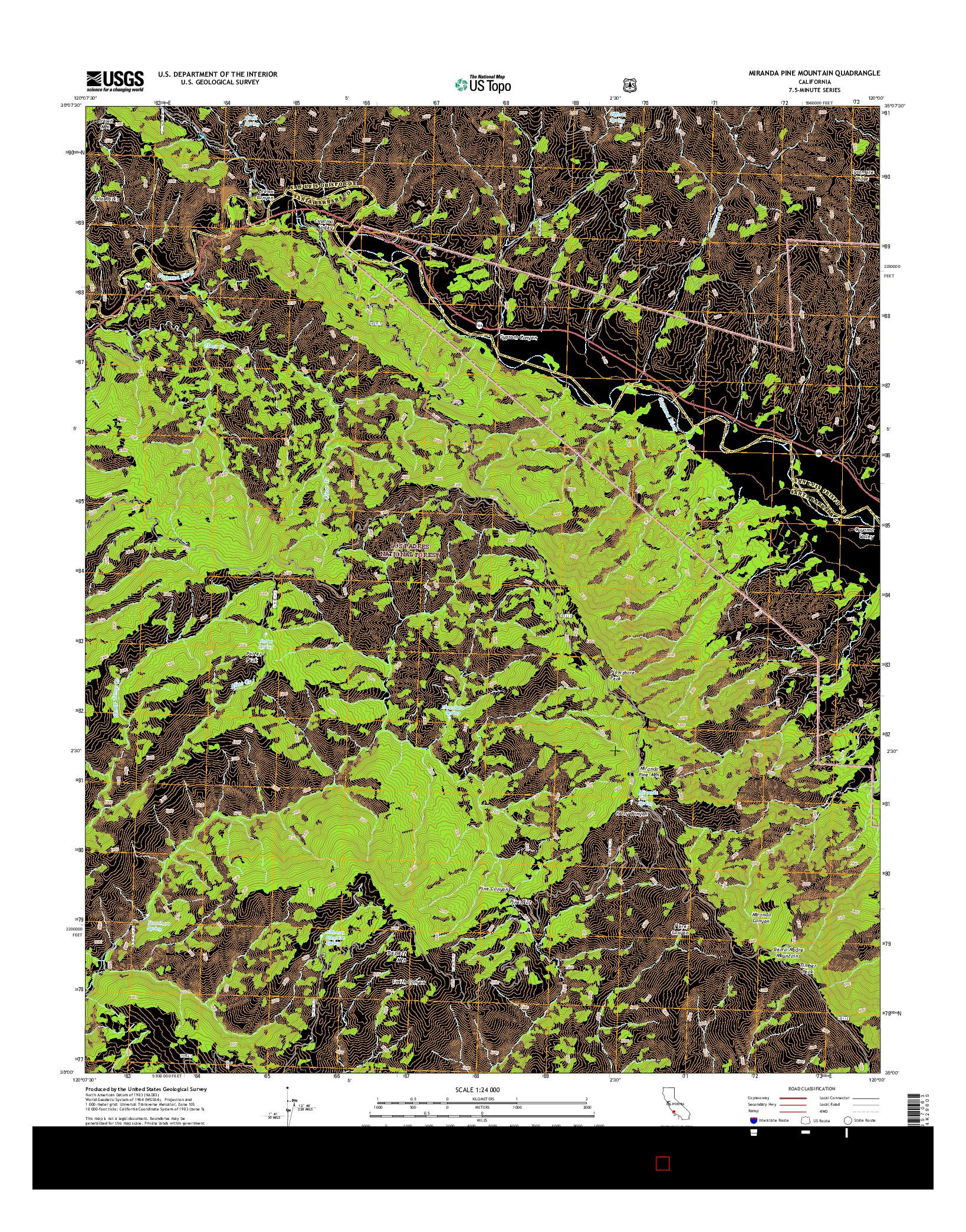USGS US TOPO 7.5-MINUTE MAP FOR MIRANDA PINE MOUNTAIN, CA 2015