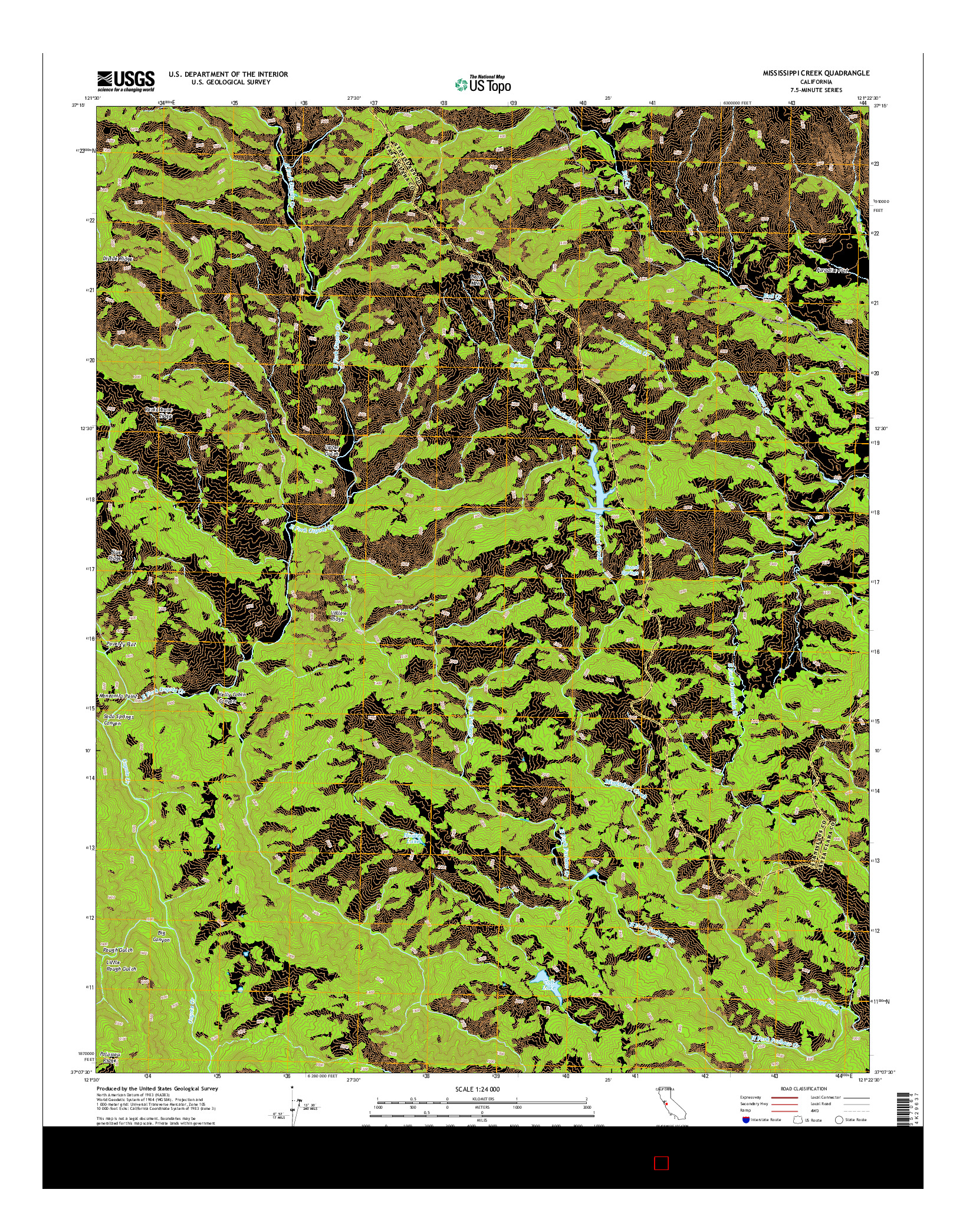 USGS US TOPO 7.5-MINUTE MAP FOR MISSISSIPPI CREEK, CA 2015