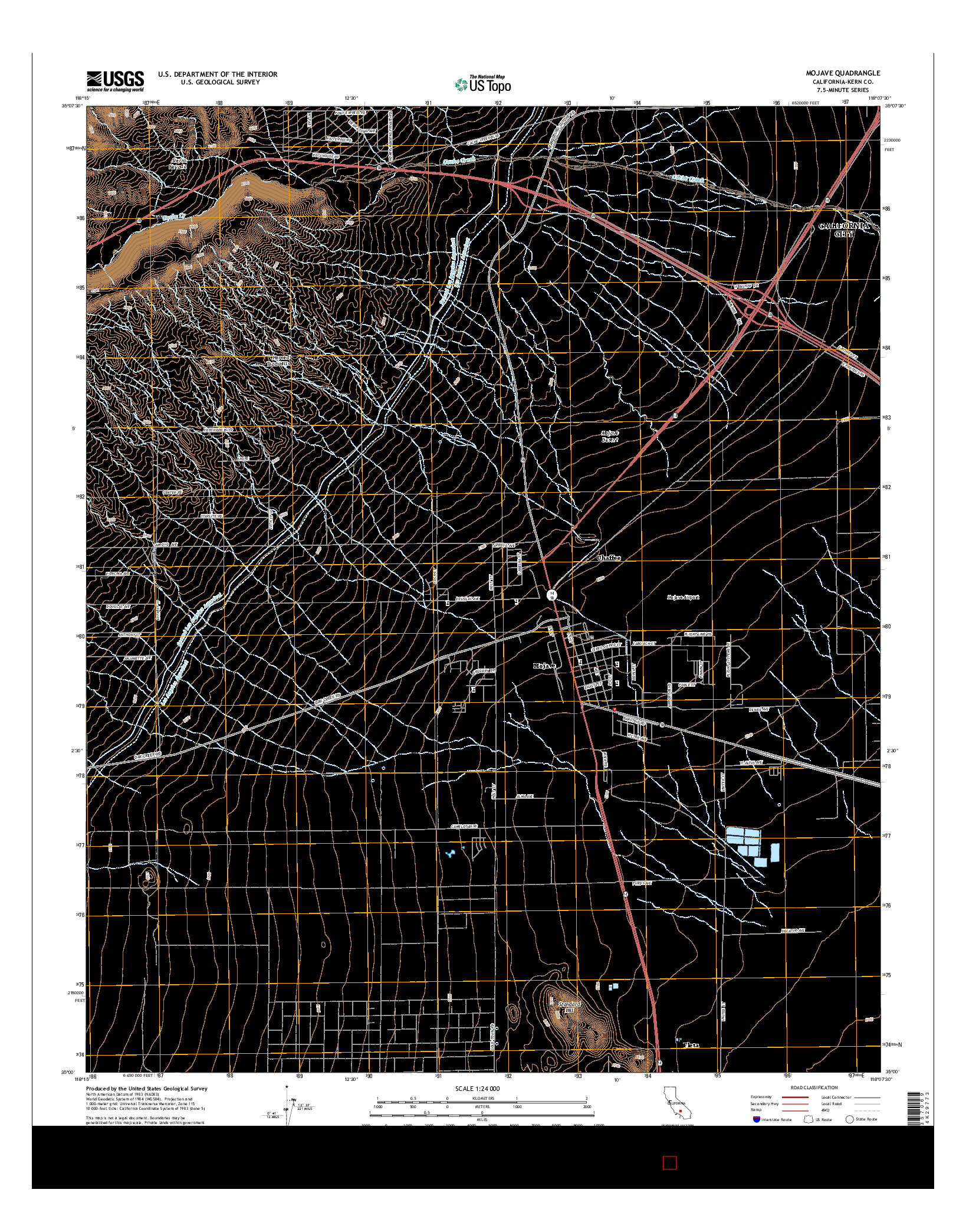 USGS US TOPO 7.5-MINUTE MAP FOR MOJAVE, CA 2015