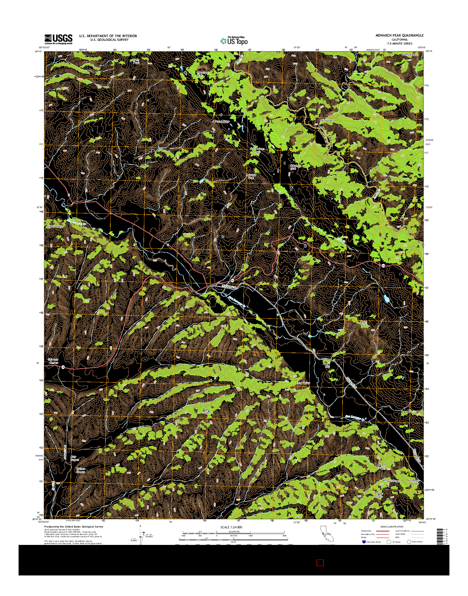 USGS US TOPO 7.5-MINUTE MAP FOR MONARCH PEAK, CA 2015