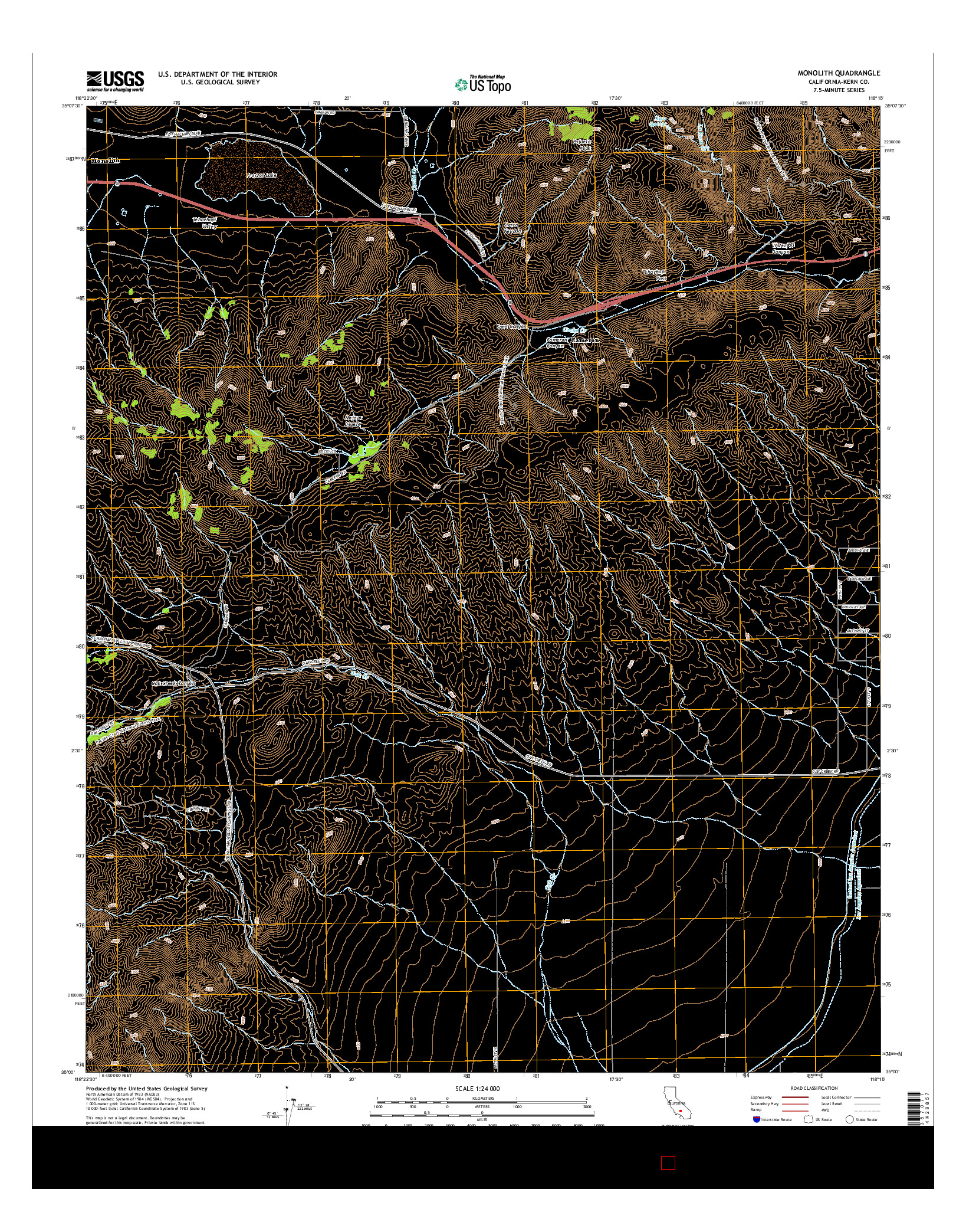 USGS US TOPO 7.5-MINUTE MAP FOR MONOLITH, CA 2015