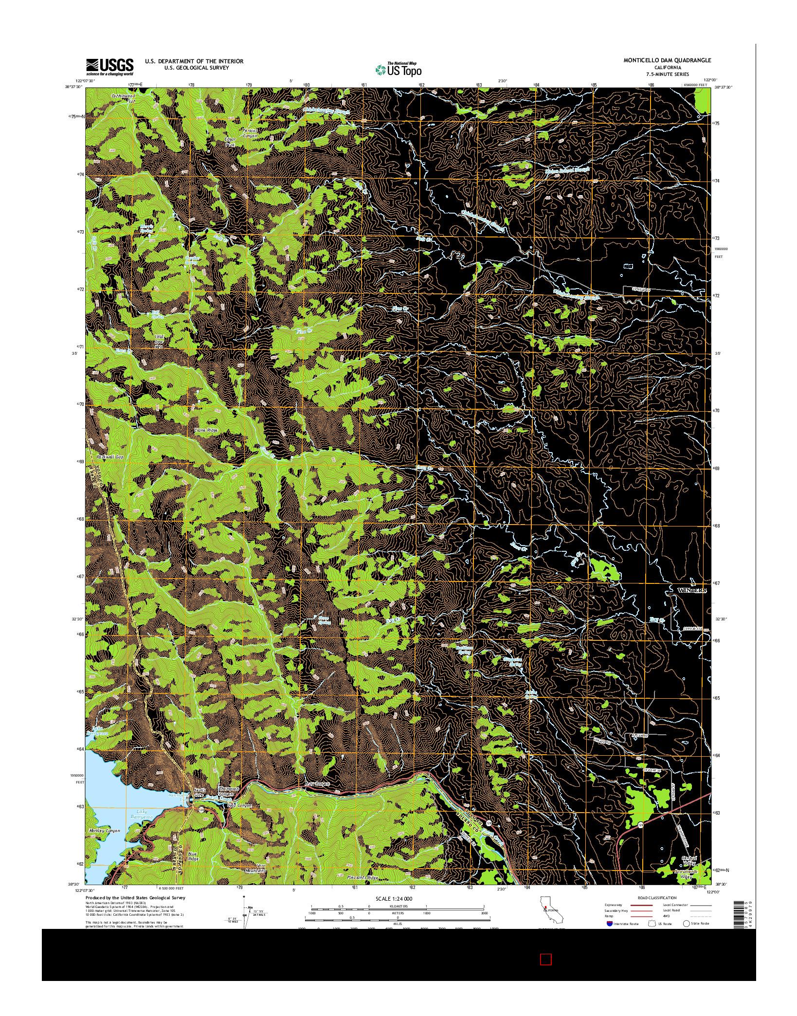 USGS US TOPO 7.5-MINUTE MAP FOR MONTICELLO DAM, CA 2015