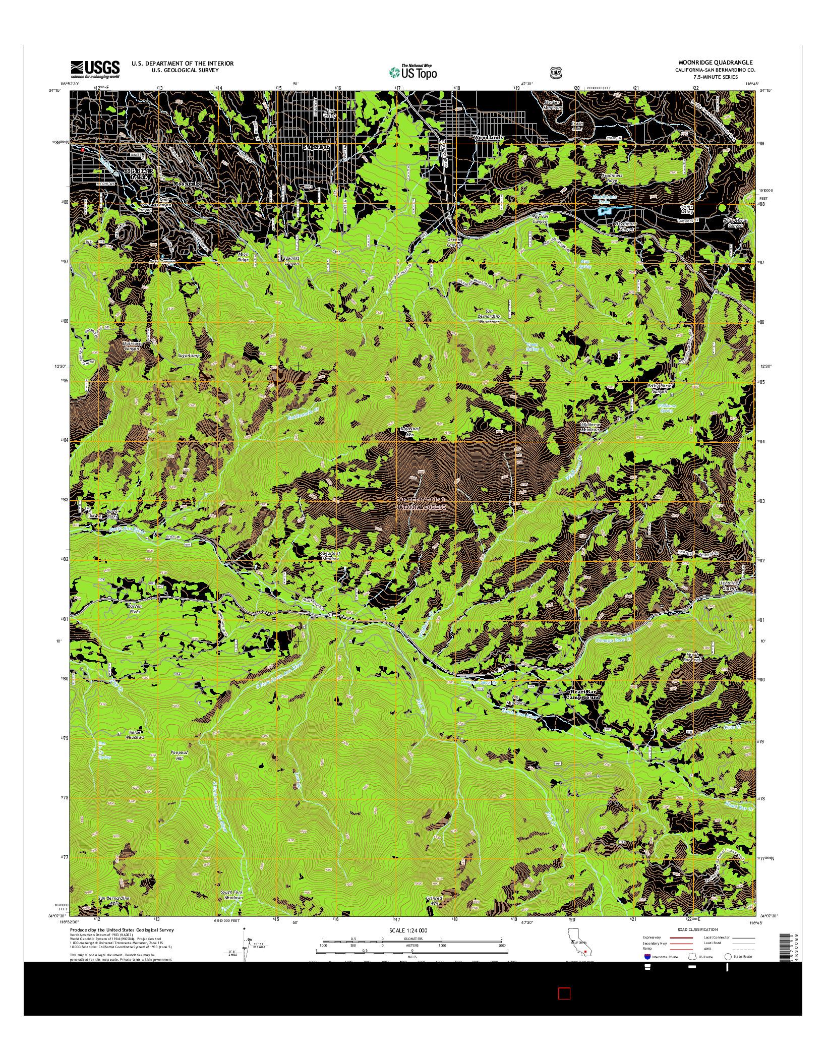 USGS US TOPO 7.5-MINUTE MAP FOR MOONRIDGE, CA 2015