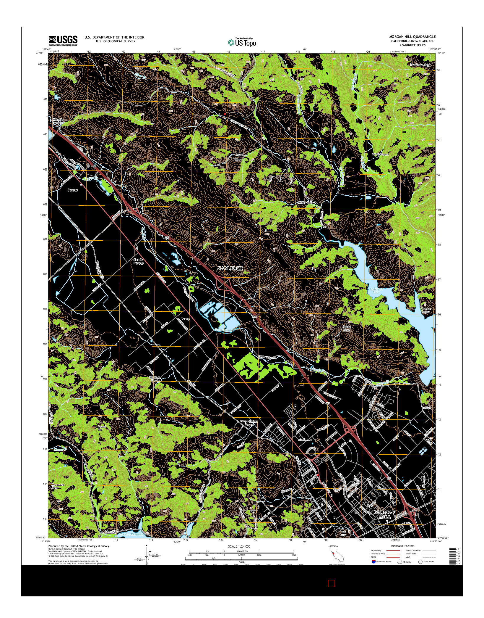 USGS US TOPO 7.5-MINUTE MAP FOR MORGAN HILL, CA 2015
