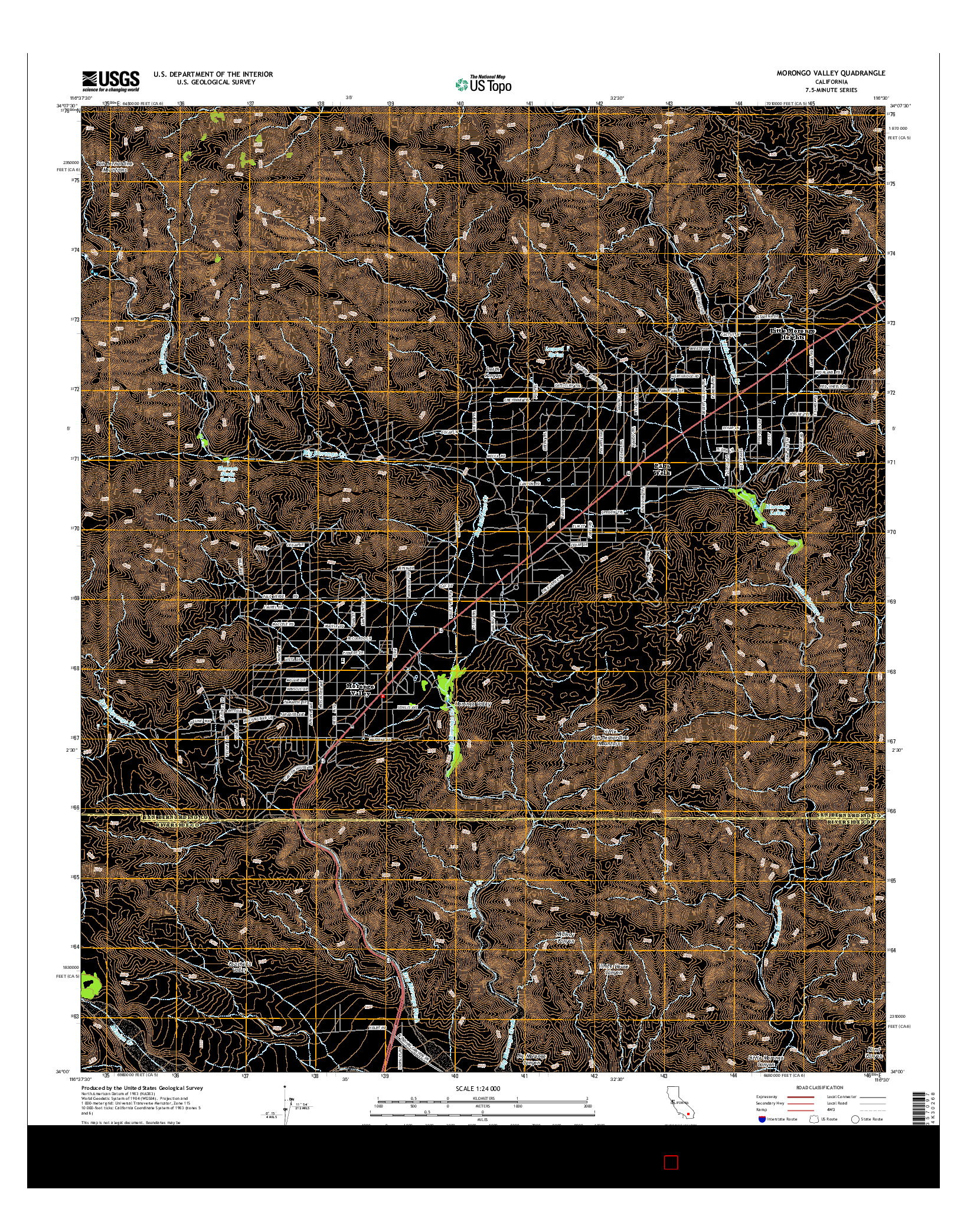 USGS US TOPO 7.5-MINUTE MAP FOR MORONGO VALLEY, CA 2015