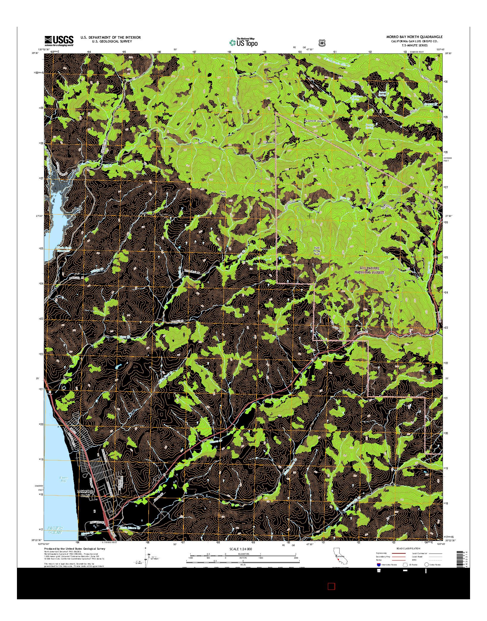 USGS US TOPO 7.5-MINUTE MAP FOR MORRO BAY NORTH, CA 2015