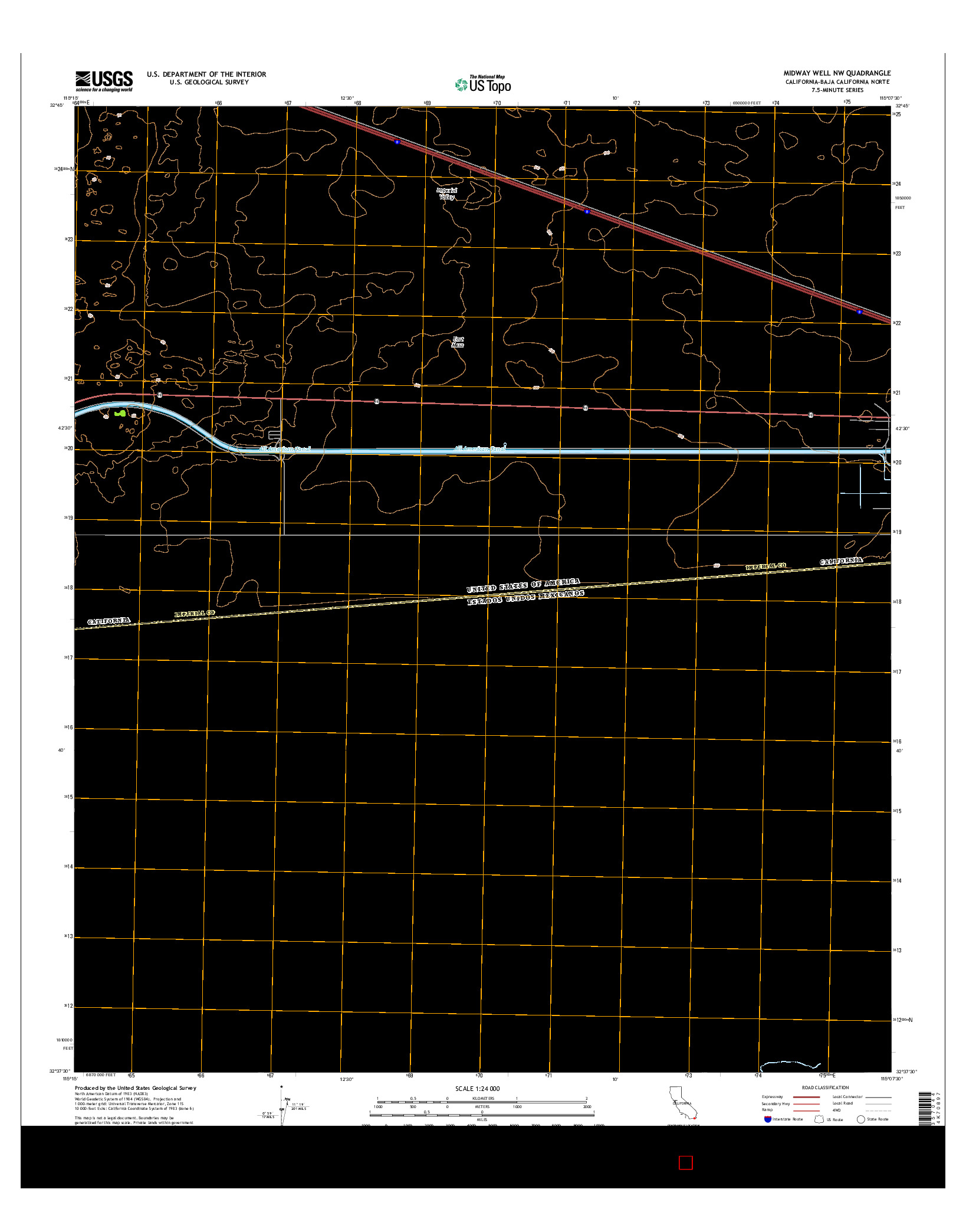 USGS US TOPO 7.5-MINUTE MAP FOR MIDWAY WELL NW, CA-BCN 2015