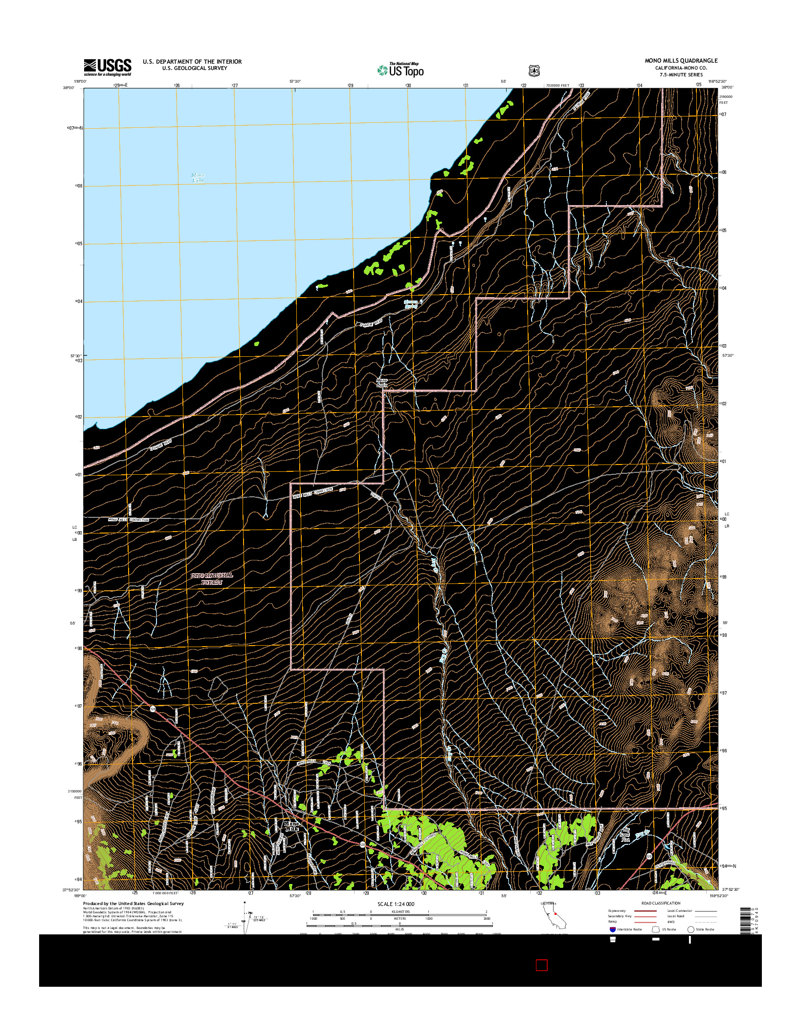 USGS US TOPO 7.5-MINUTE MAP FOR MONO MILLS, CA 2015