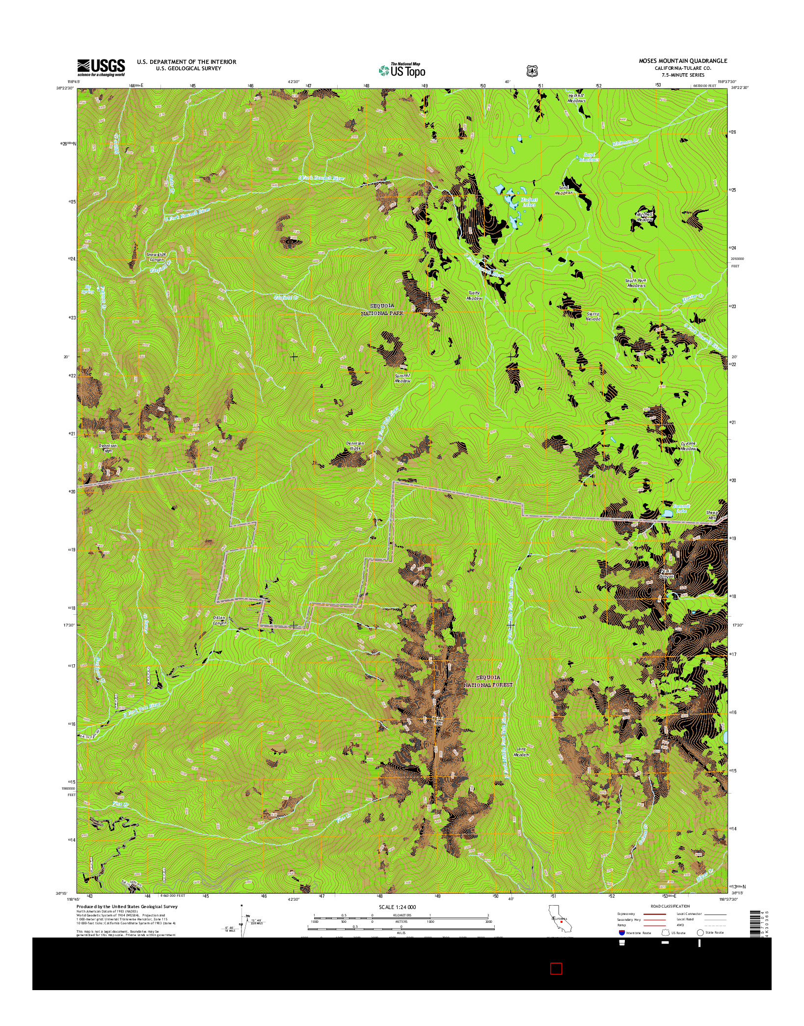 USGS US TOPO 7.5-MINUTE MAP FOR MOSES MOUNTAIN, CA 2015