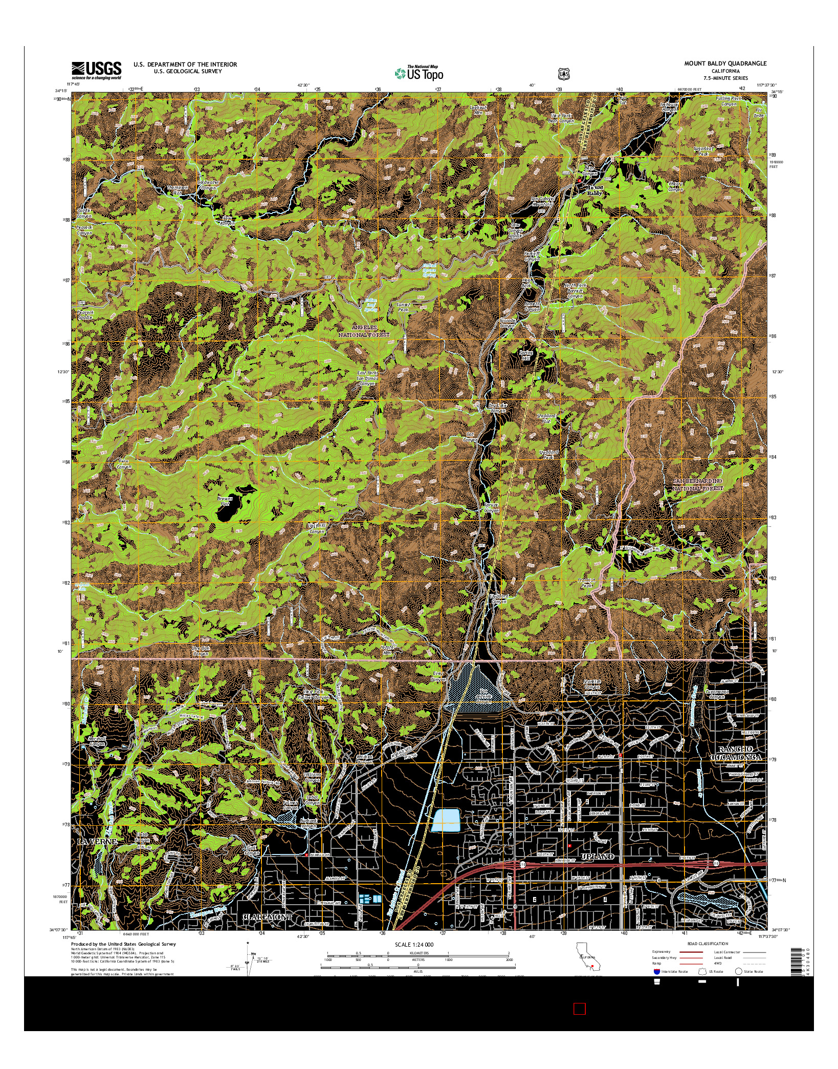 USGS US TOPO 7.5-MINUTE MAP FOR MOUNT BALDY, CA 2015