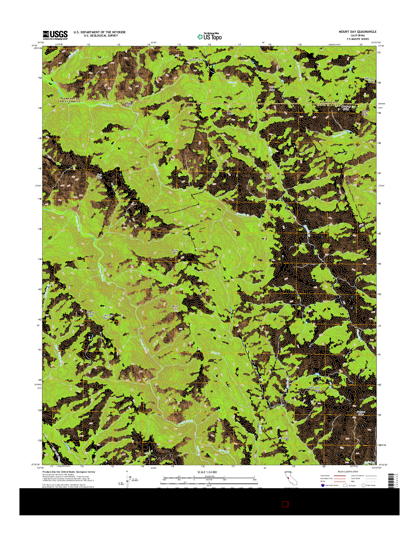 USGS US TOPO 7.5-MINUTE MAP FOR MOUNT DAY, CA 2015