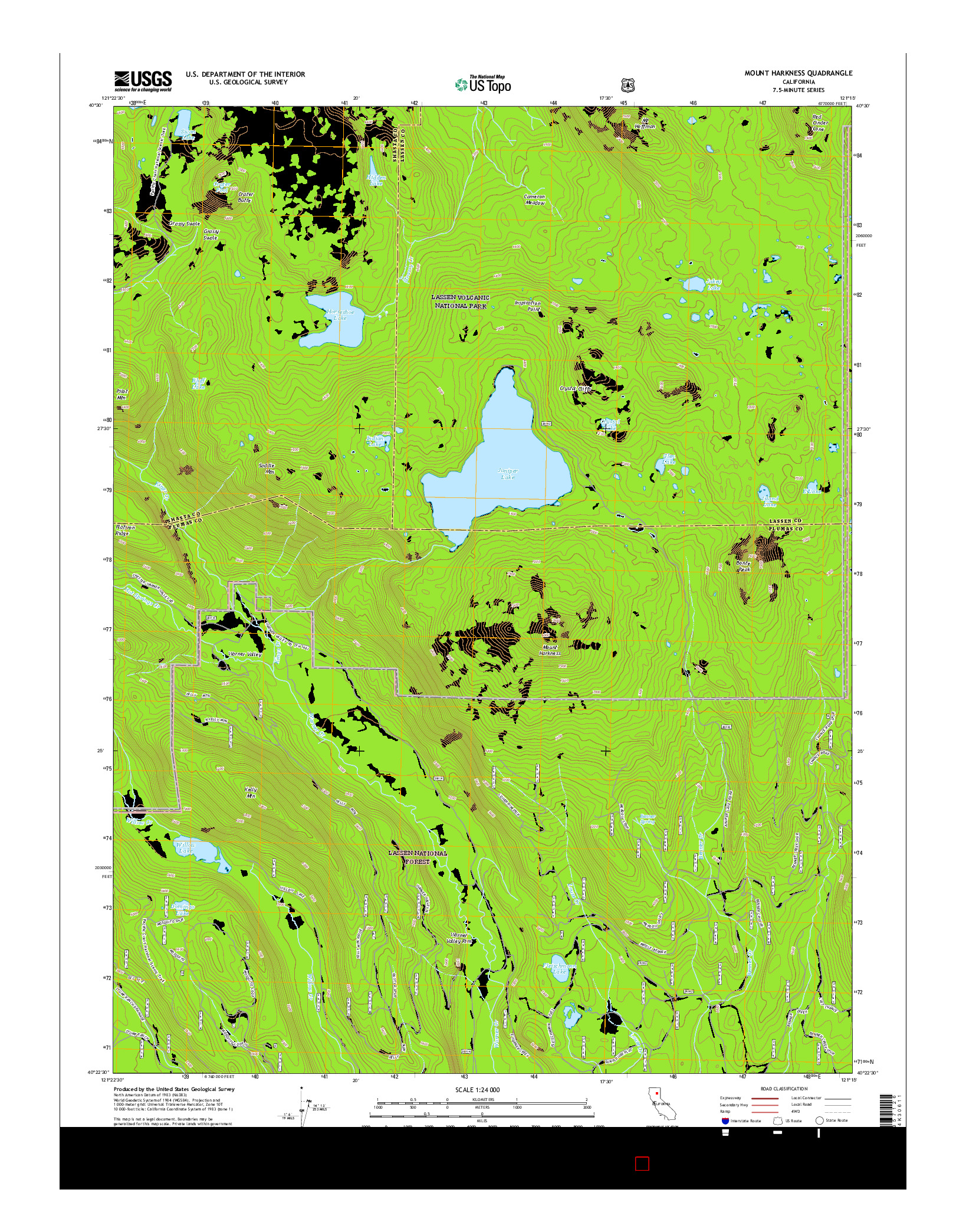USGS US TOPO 7.5-MINUTE MAP FOR MOUNT HARKNESS, CA 2015