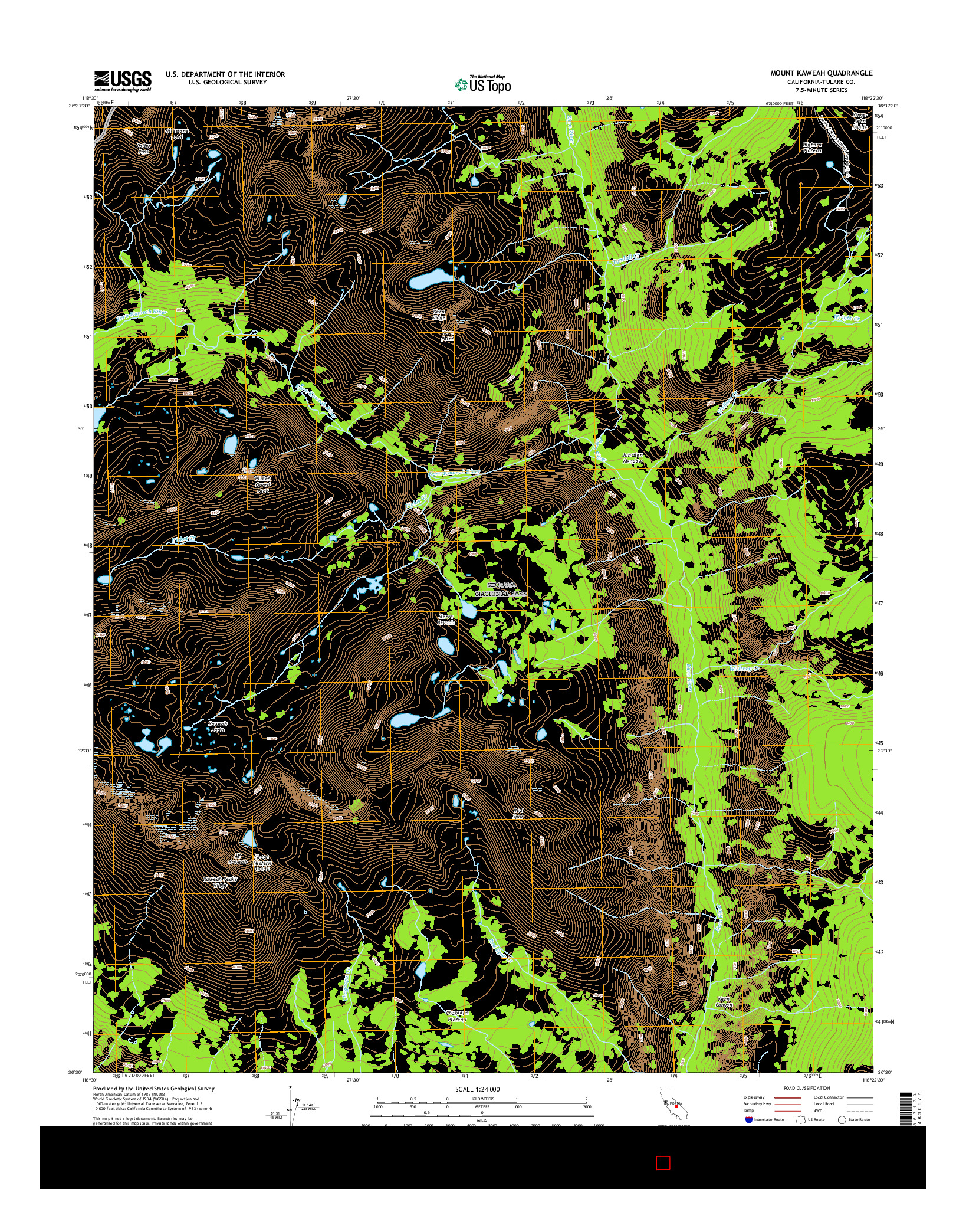 USGS US TOPO 7.5-MINUTE MAP FOR MOUNT KAWEAH, CA 2015